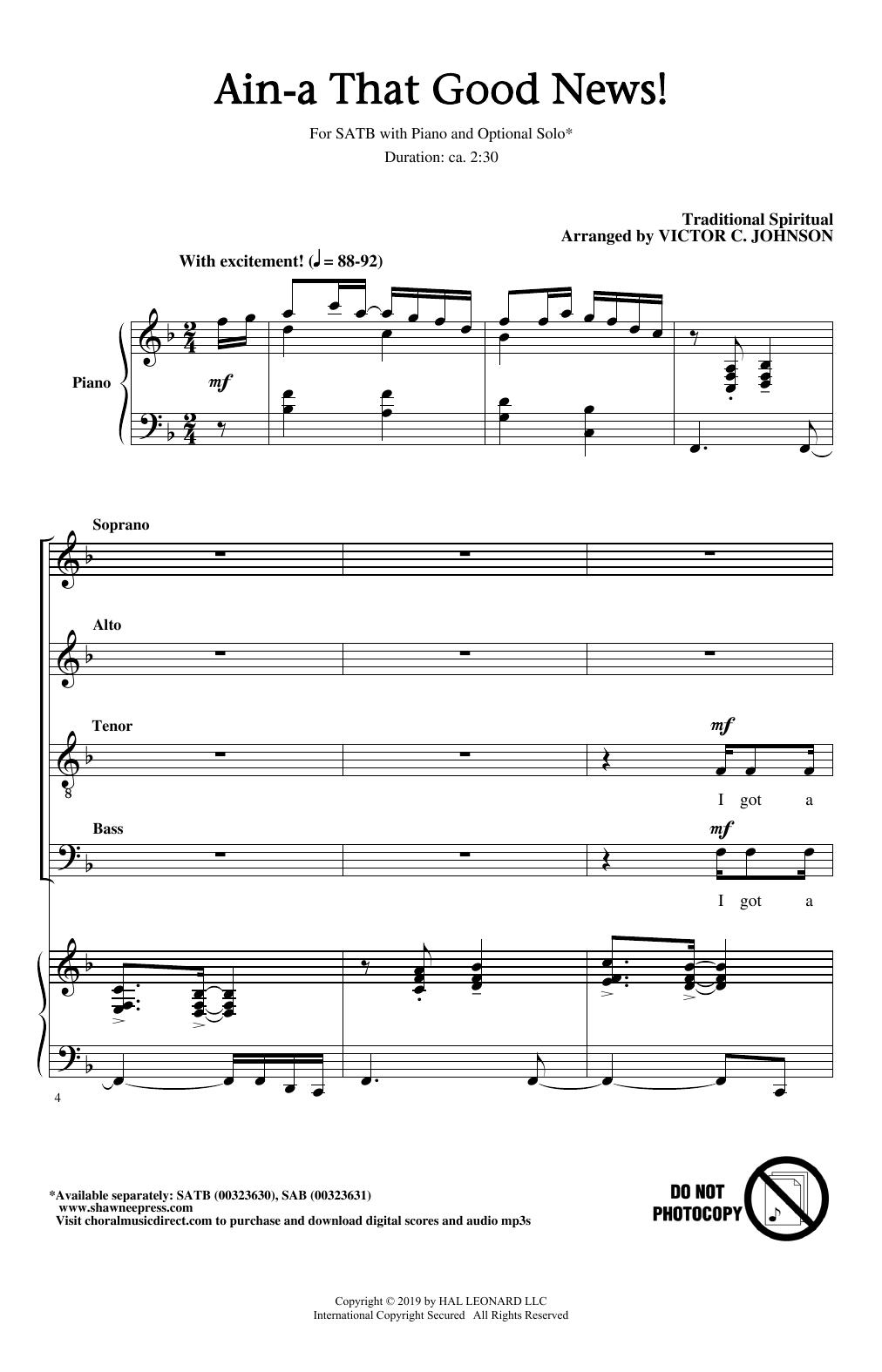 Ain'a That Good News! (arr. Victor C. Johnson) (SATB Choir)