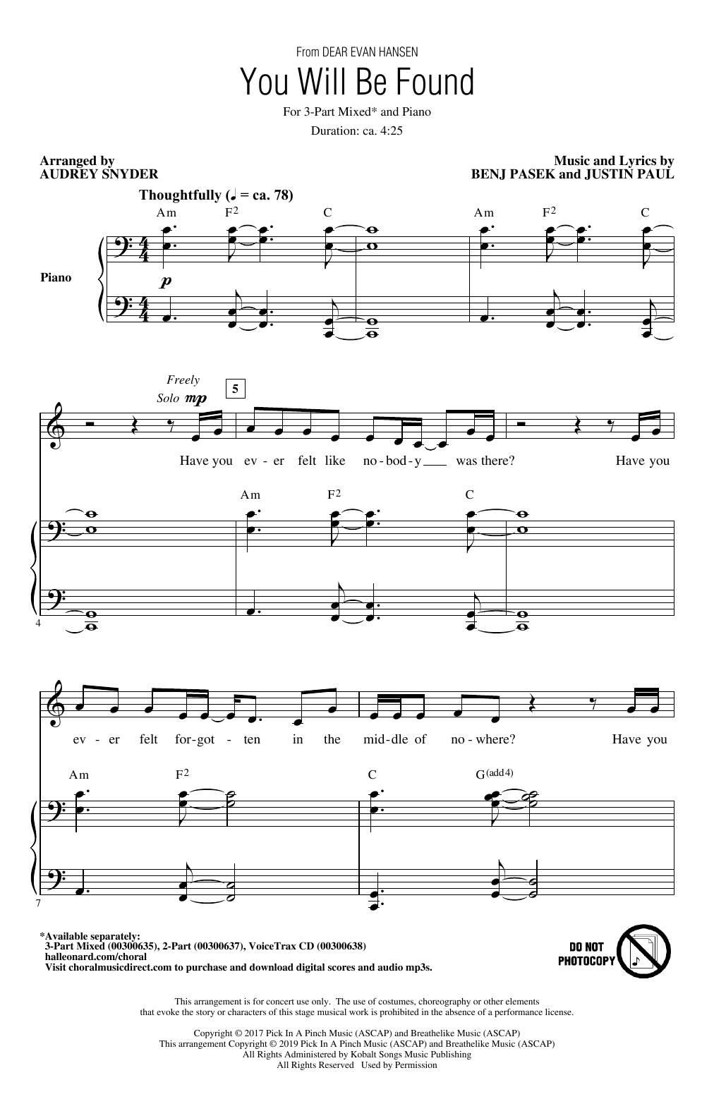 You Will Be Found (from Dear Evan Hansen) (arr. Audrey Snyder) (3-Part Mixed Choir)