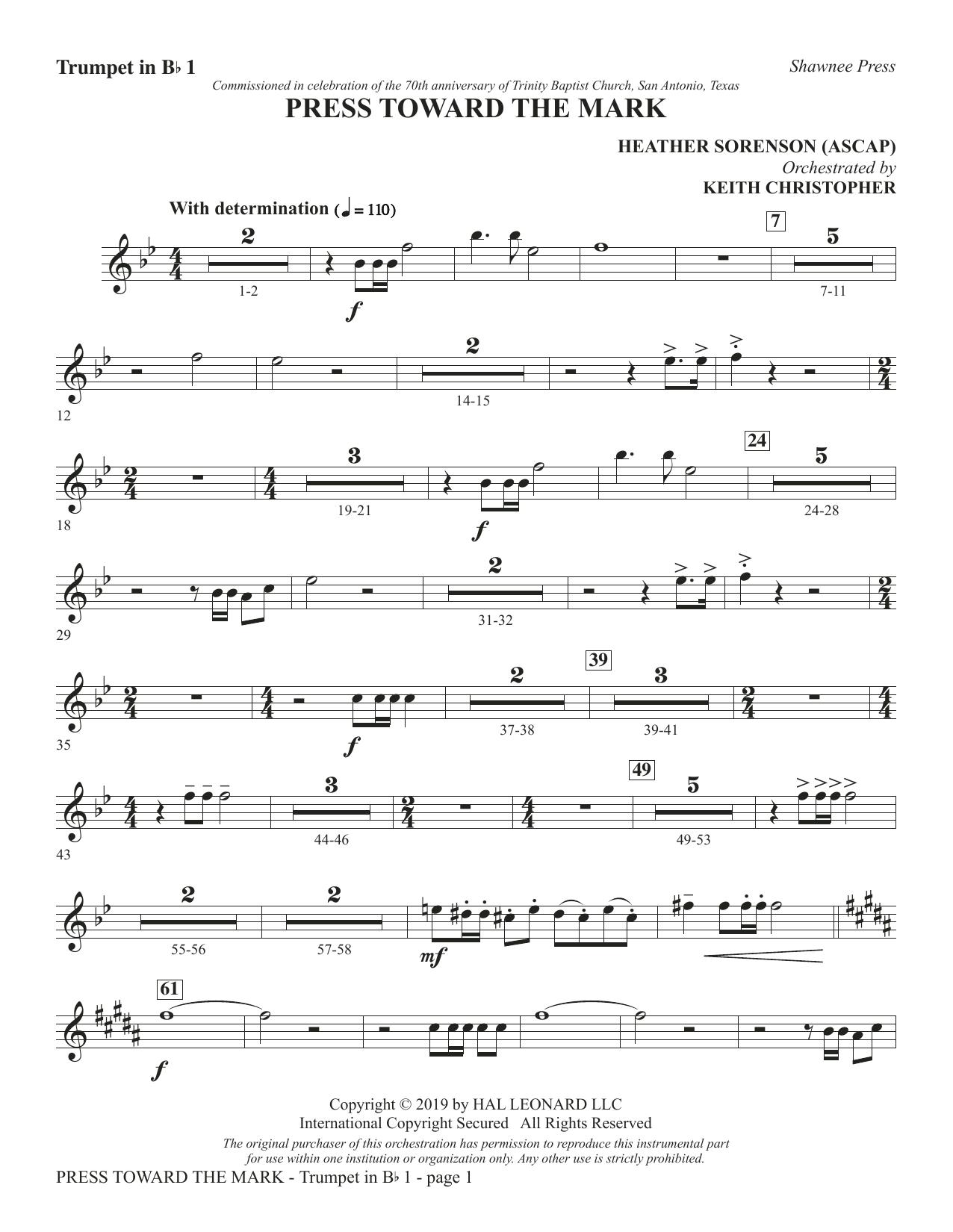 Press Toward the Mark - Bb Trumpet 1 (Choir Instrumental Pak)