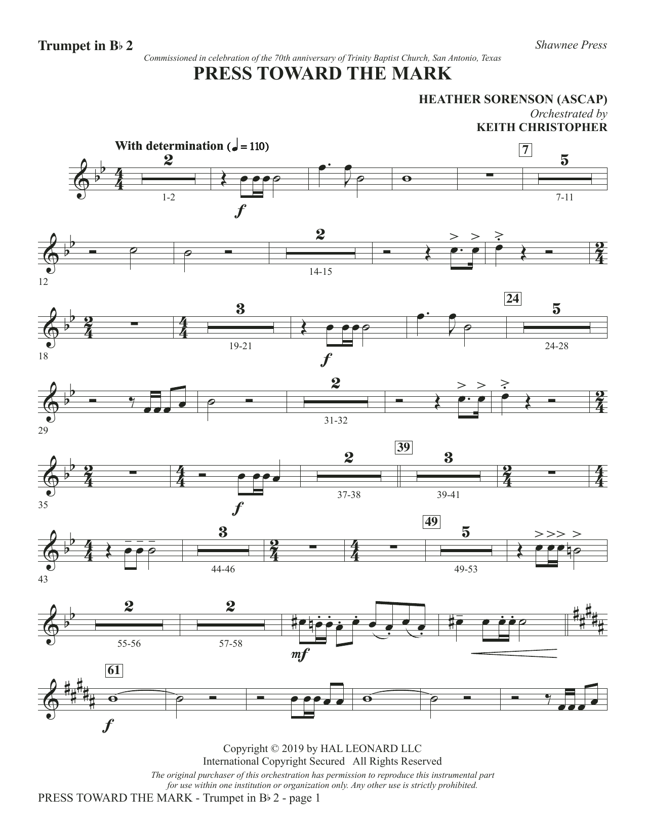 Press Toward the Mark - Bb Trumpet 2 (Choir Instrumental Pak)