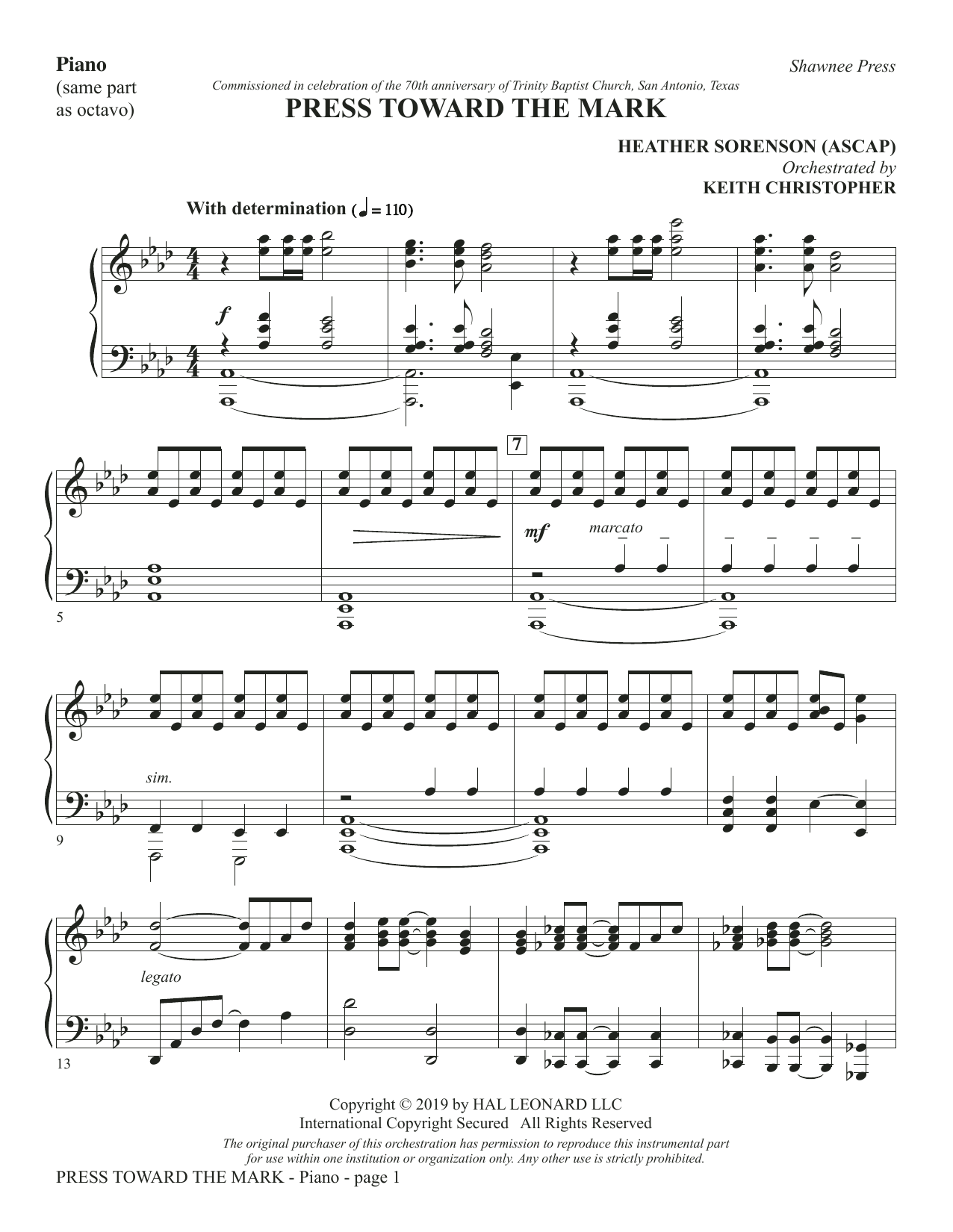 Press Toward the Mark - Piano (Choir Instrumental Pak)