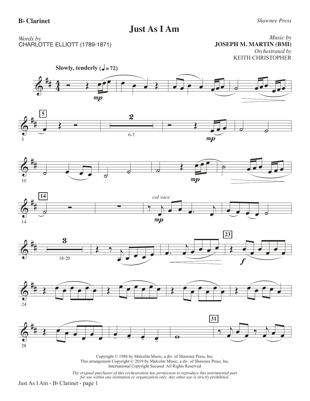 Just As I Am - Bb Clarinet (Choir Instrumental Pak)