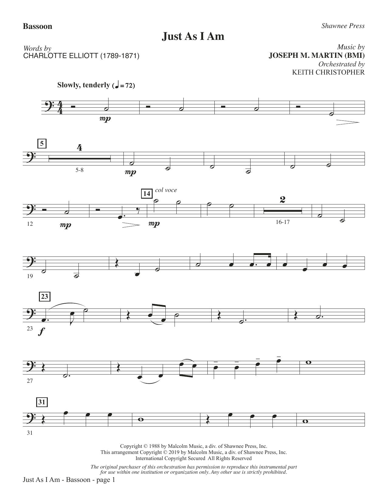 Just As I Am - Bassoon (Choir Instrumental Pak)