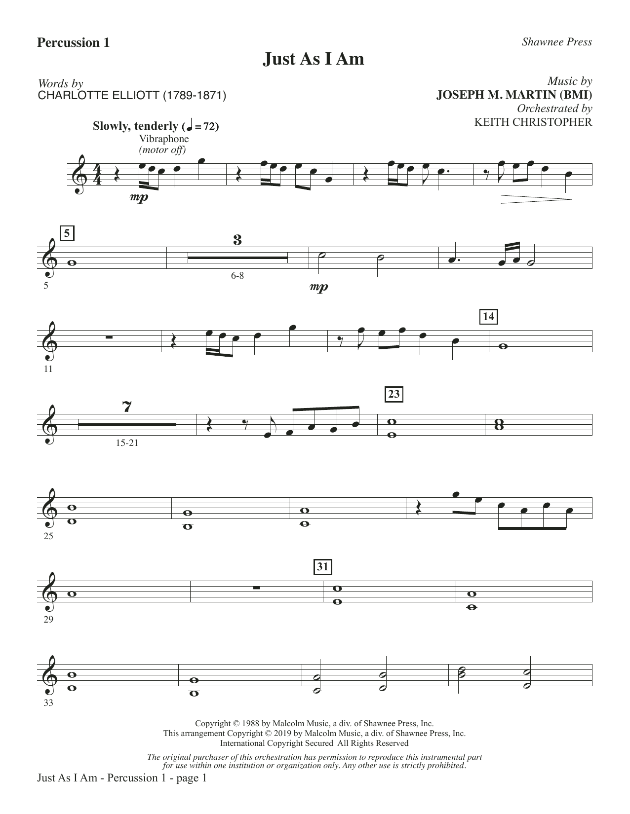 Just As I Am - Percussion 1 (Choir Instrumental Pak)