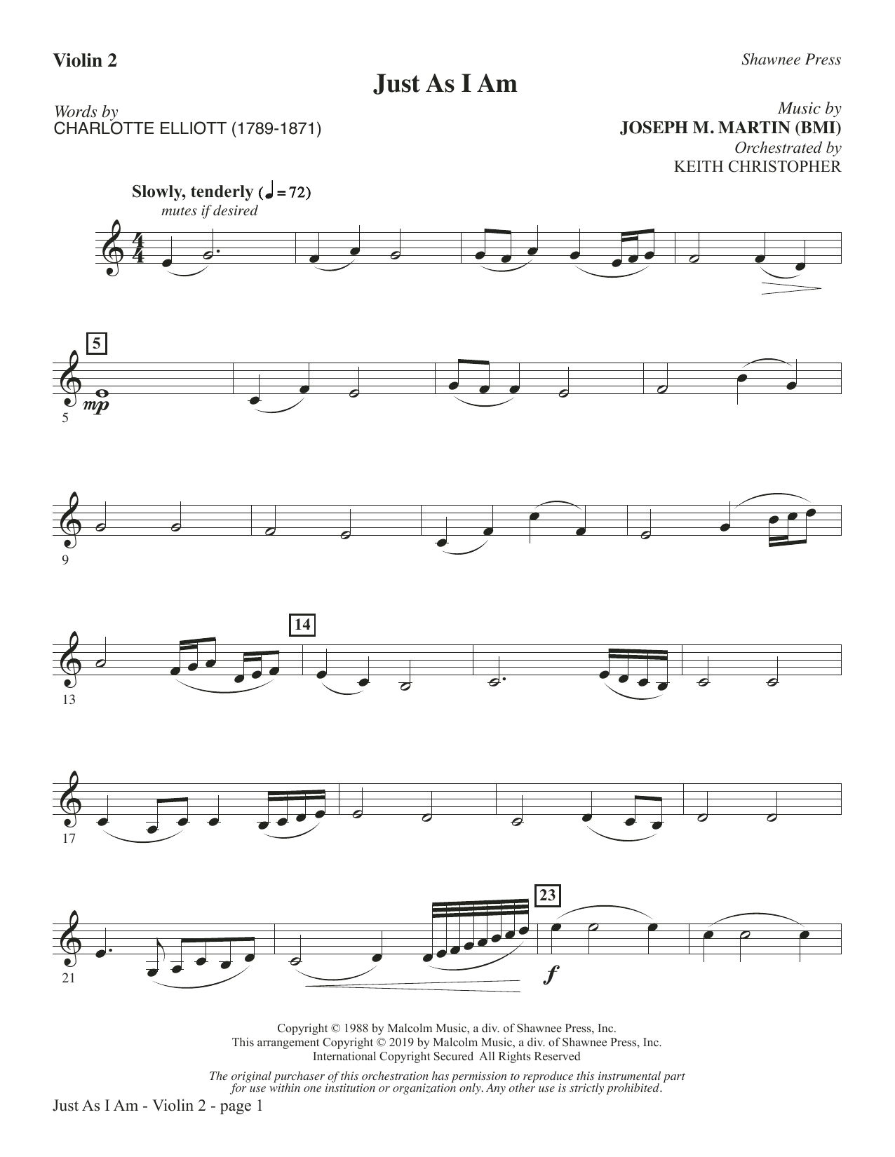 Just As I Am - Violin 2 (Choir Instrumental Pak)