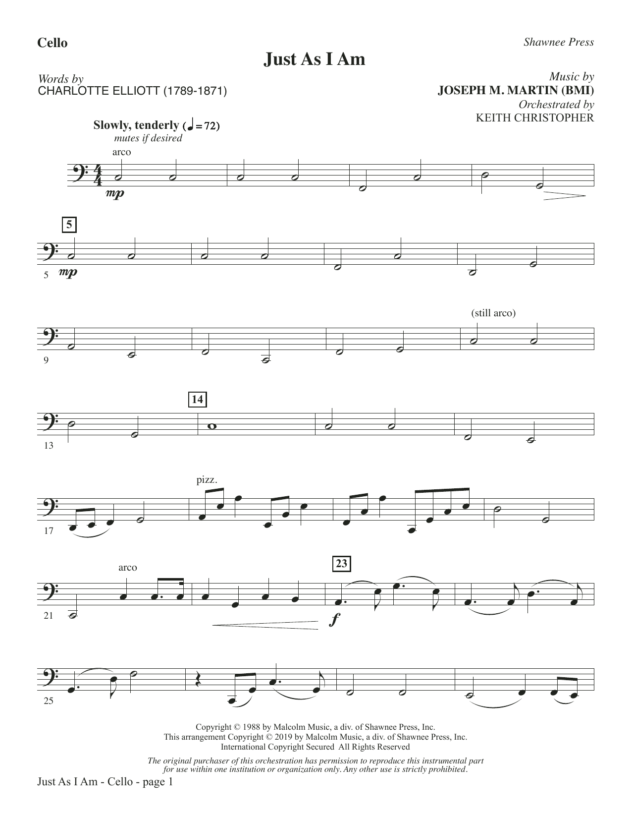 Just As I Am - Cello (Choir Instrumental Pak)