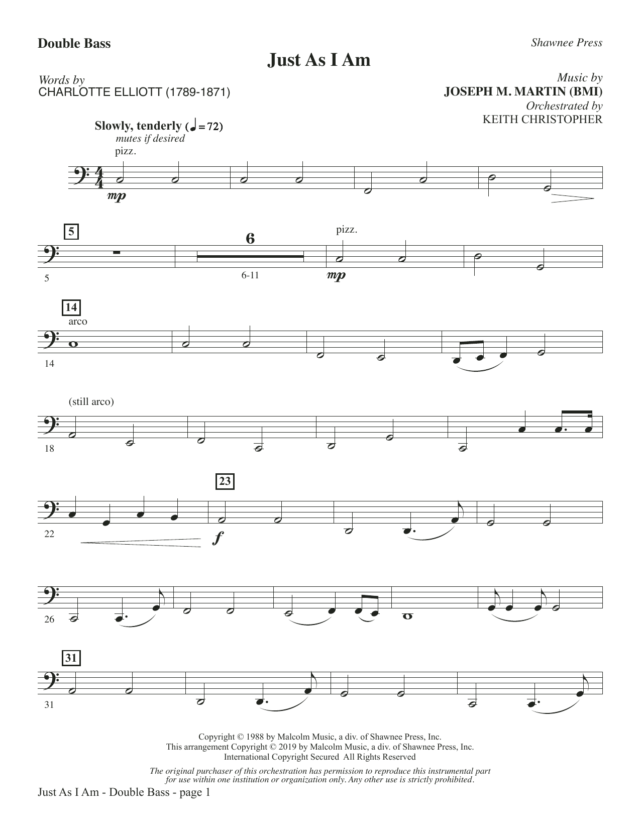 Just As I Am - Double Bass (Choir Instrumental Pak)