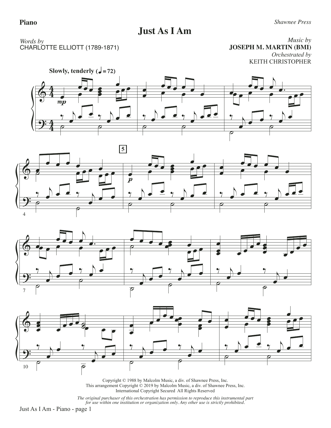 Just As I Am - Piano (Choir Instrumental Pak)