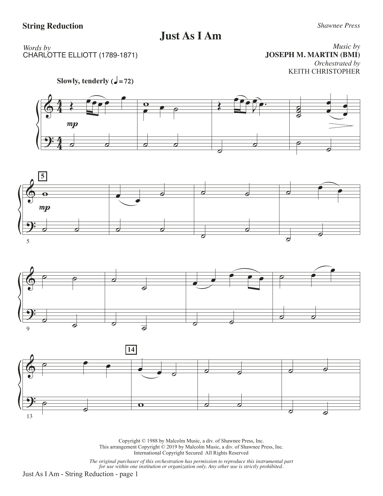 Just As I Am - Keyboard String Reduction (Choir Instrumental Pak)