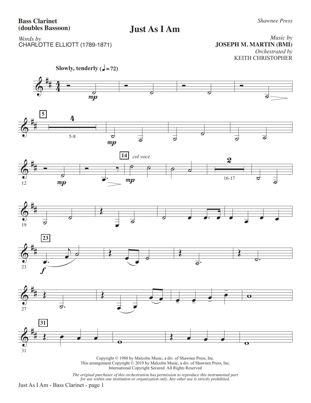Just As I Am - Bass Clarinet (sub. Bassoon) (Choir Instrumental Pak)
