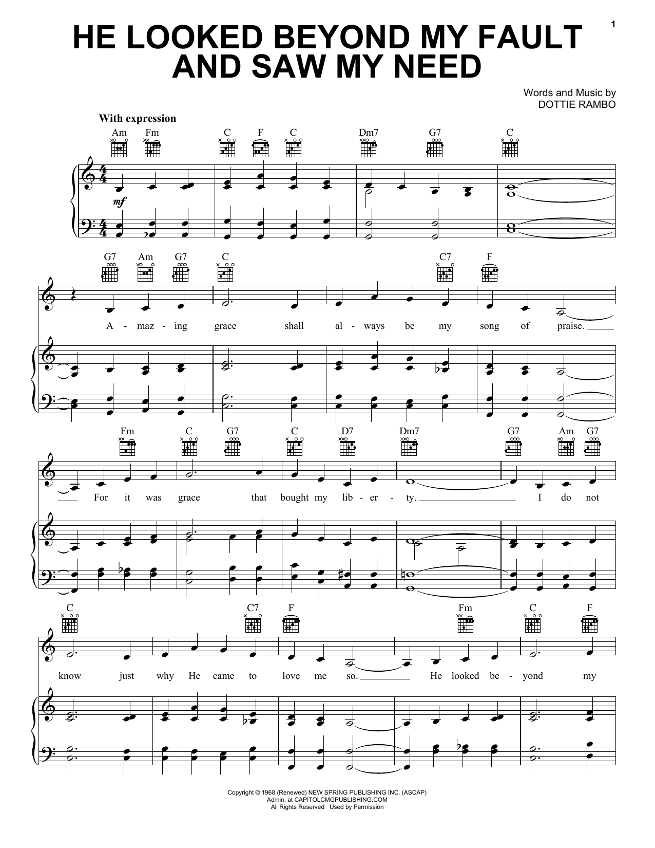 He Looked Beyond My Fault And Saw My Need (Piano, Vocal & Guitar (Right-Hand Melody))