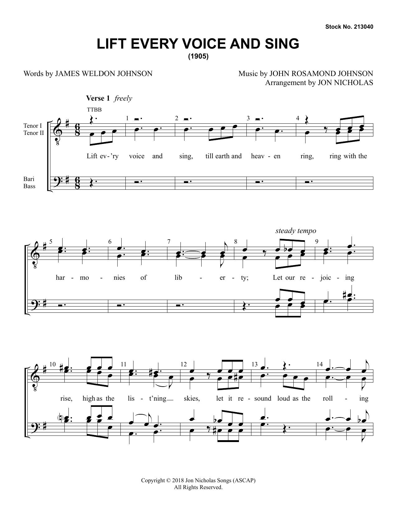 Lift Every Voice and Sing (arr. Jon Nicholas) (Choir)