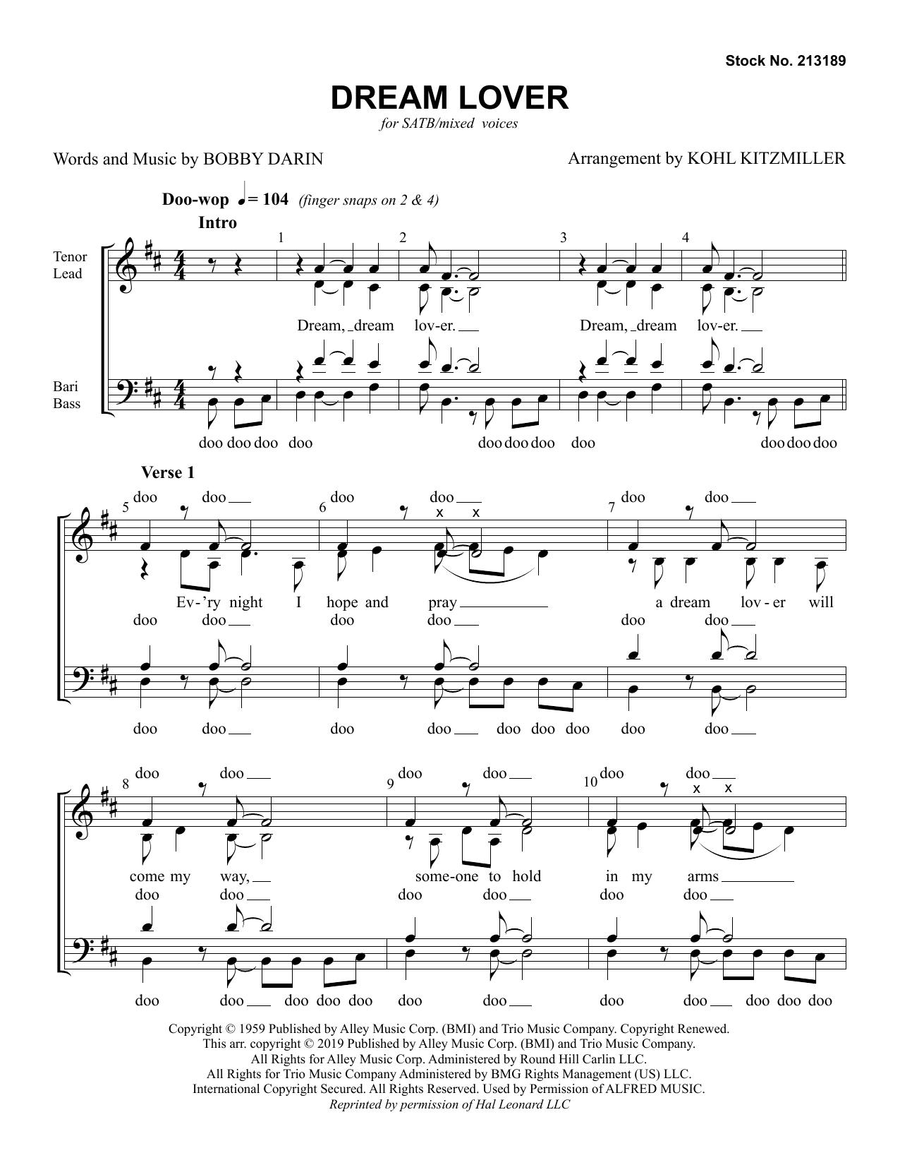 Dream Lover (arr. Kohl Kitzmiller) (SATB Choir)