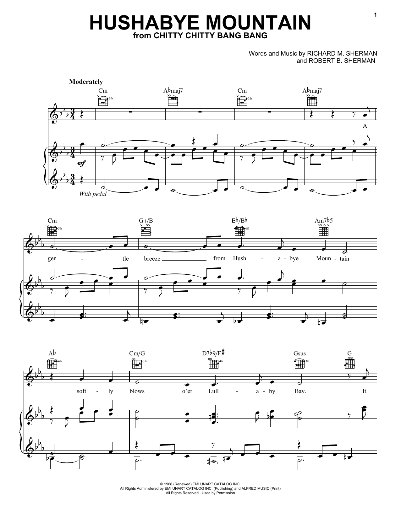 Hushabye Mountain (from Chitty Chitty Bang Bang) (Piano, Vocal & Guitar (Right-Hand Melody))