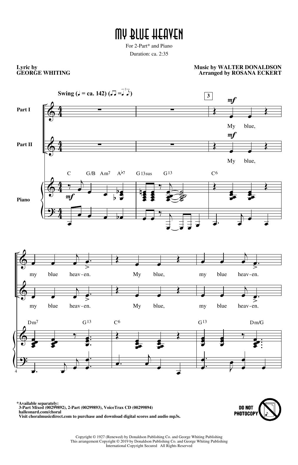 My Blue Heaven (arr. Rosana Eckert) (2-Part Choir)