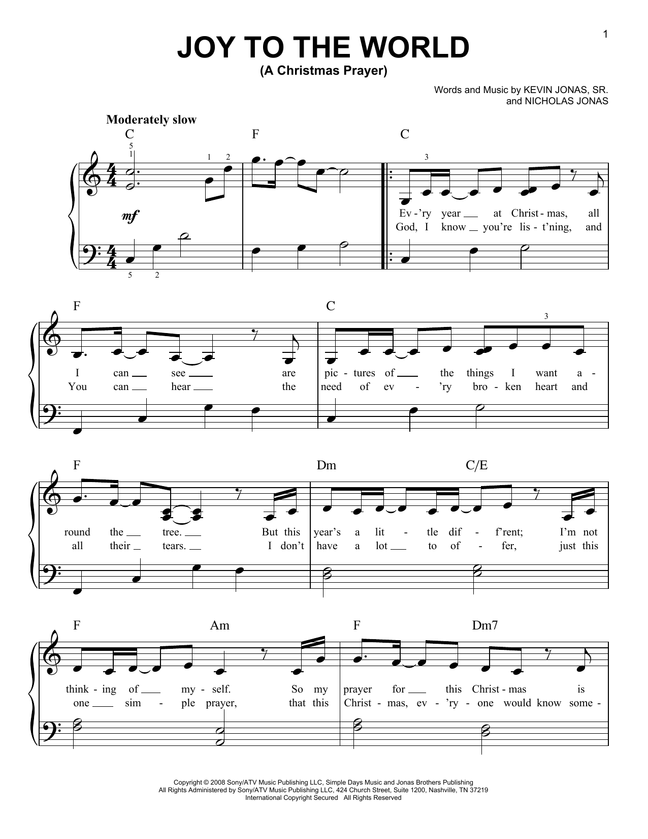 Joy To The World (A Christmas Prayer) (Easy Piano)