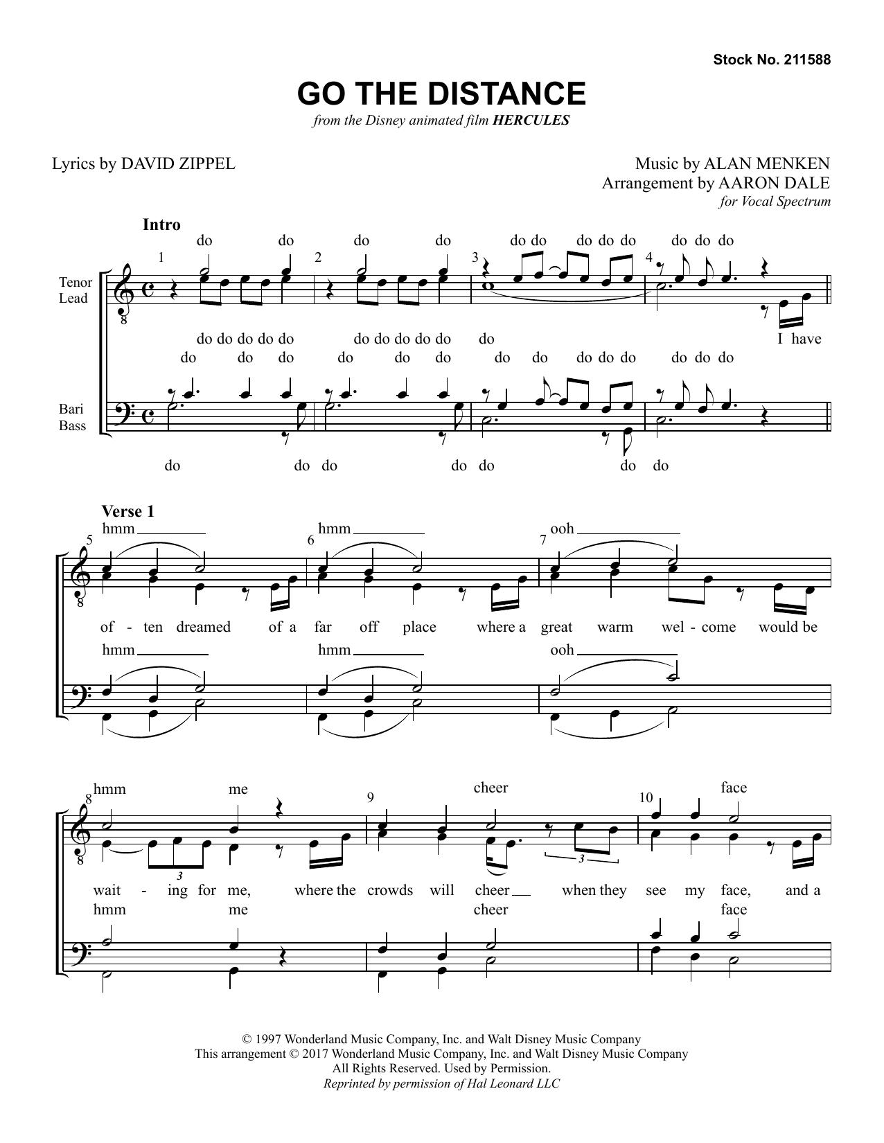 Go The Distance (from Disney's Hercules) (arr. Aaron Dale) (TTBB Choir)