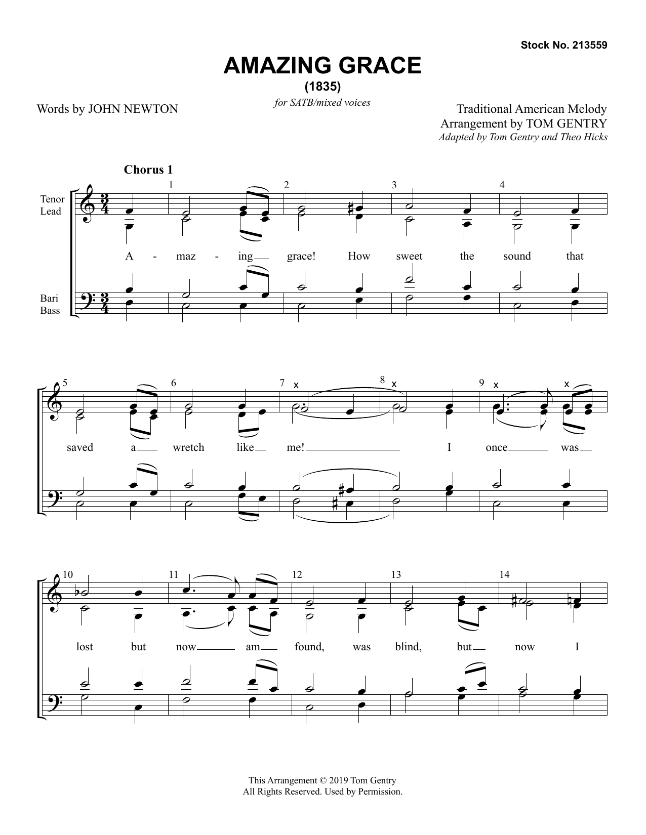 Amazing Grace (arr. Tom Gentry) Digitale Noten