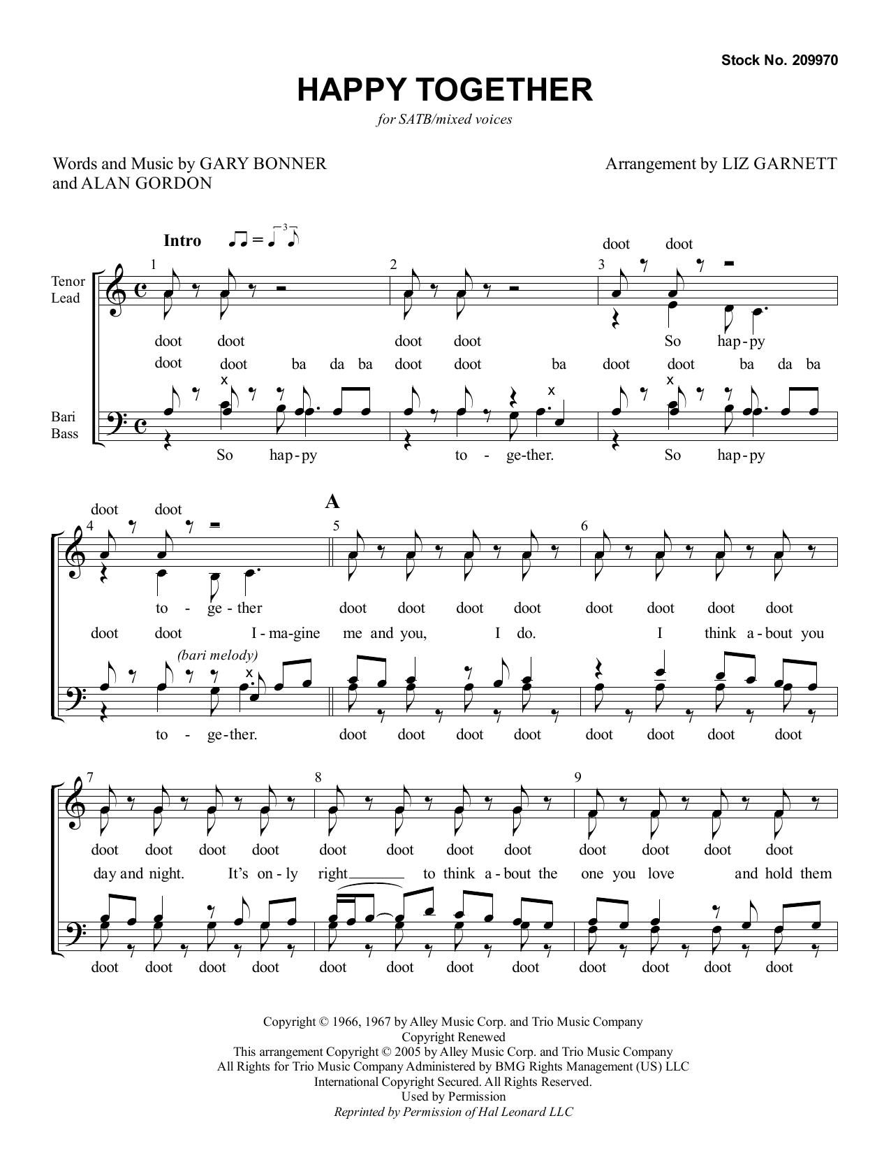 Happy Together (arr. Liz Garnett) Sheet Music