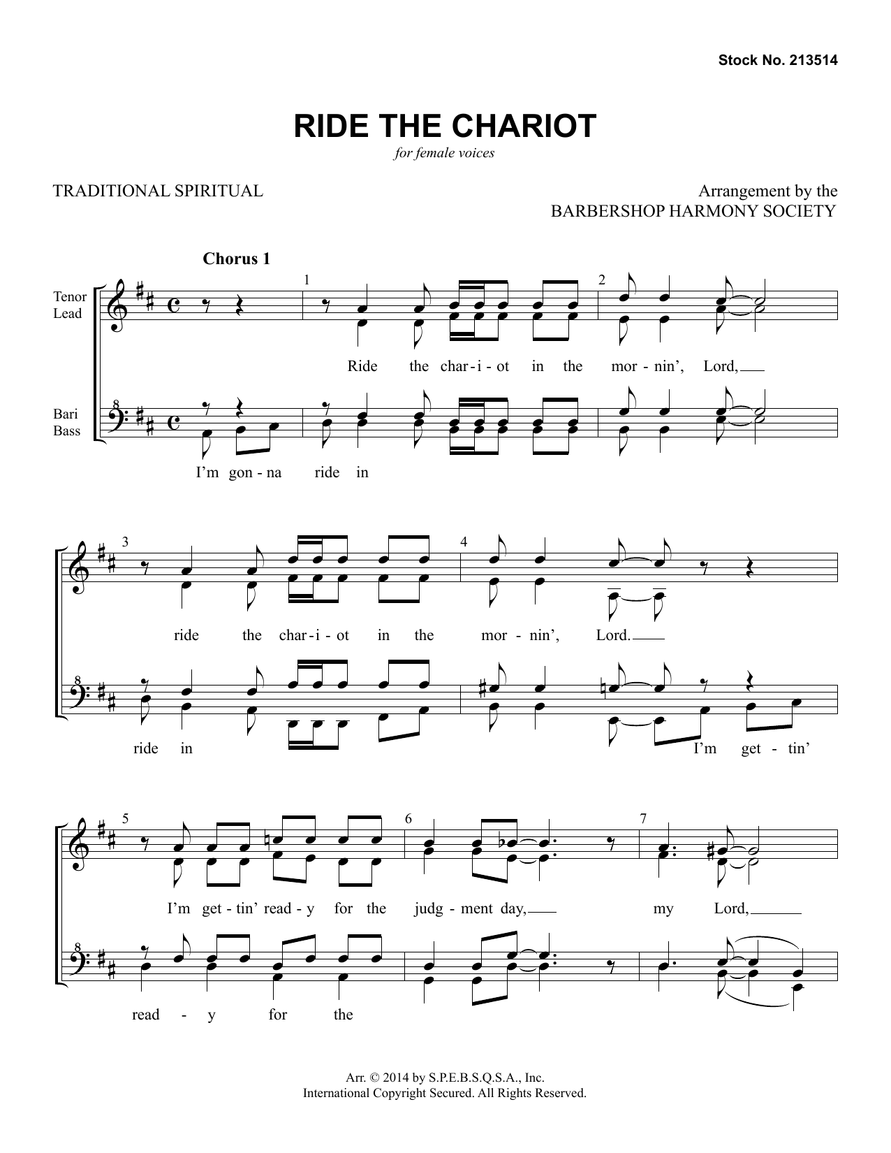Ride The Chariot (arr. Barbershop Harmony Society) Digitale Noten