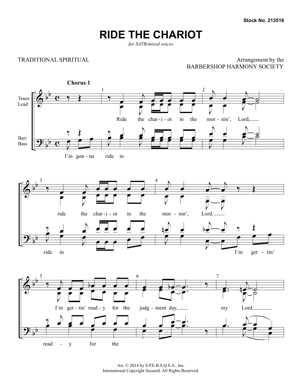 Ride The Chariot (arr. Barbershop Harmony Society) Sheet Music
