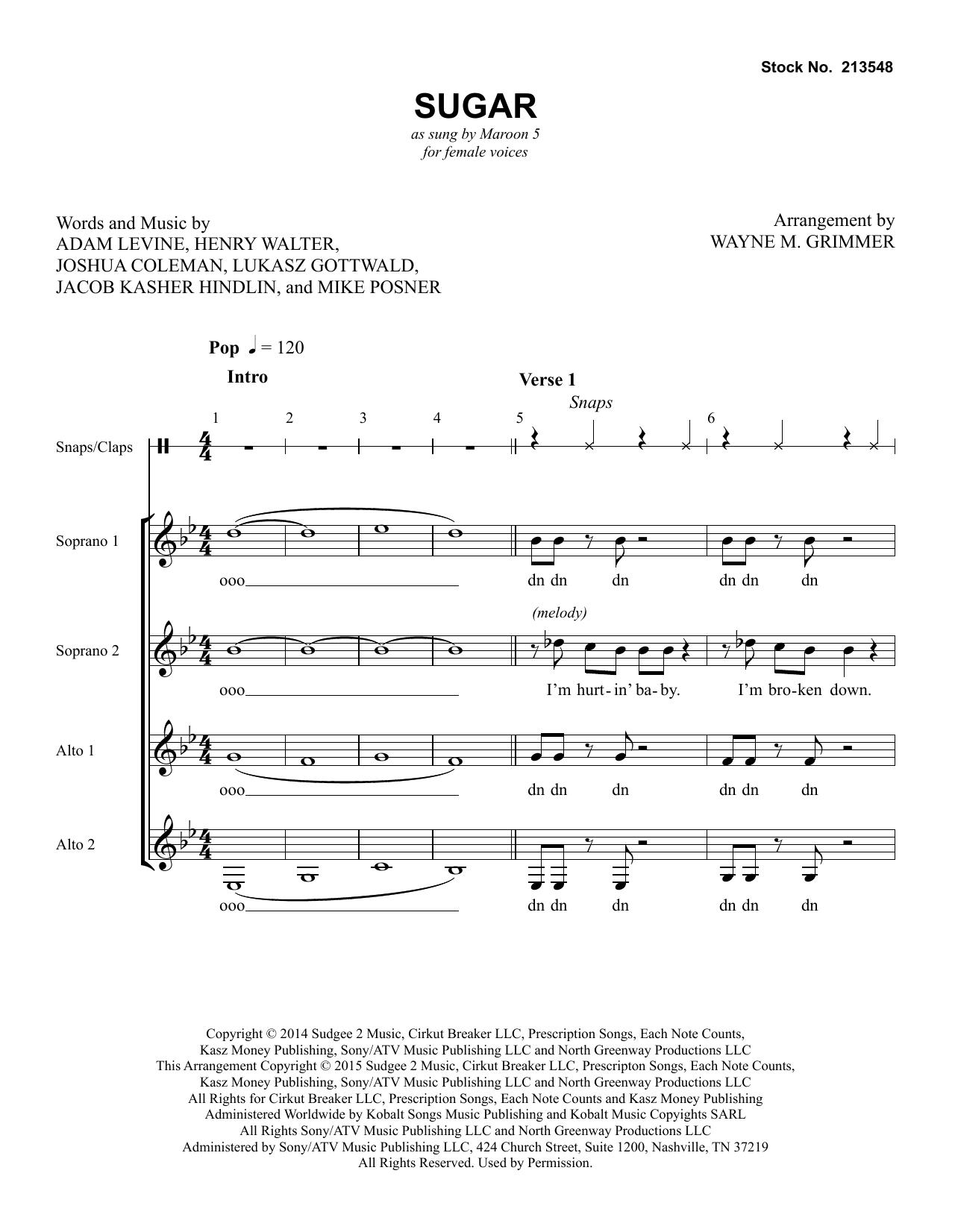Sugar (arr. Wayne Grimmer) (SSAA Choir)