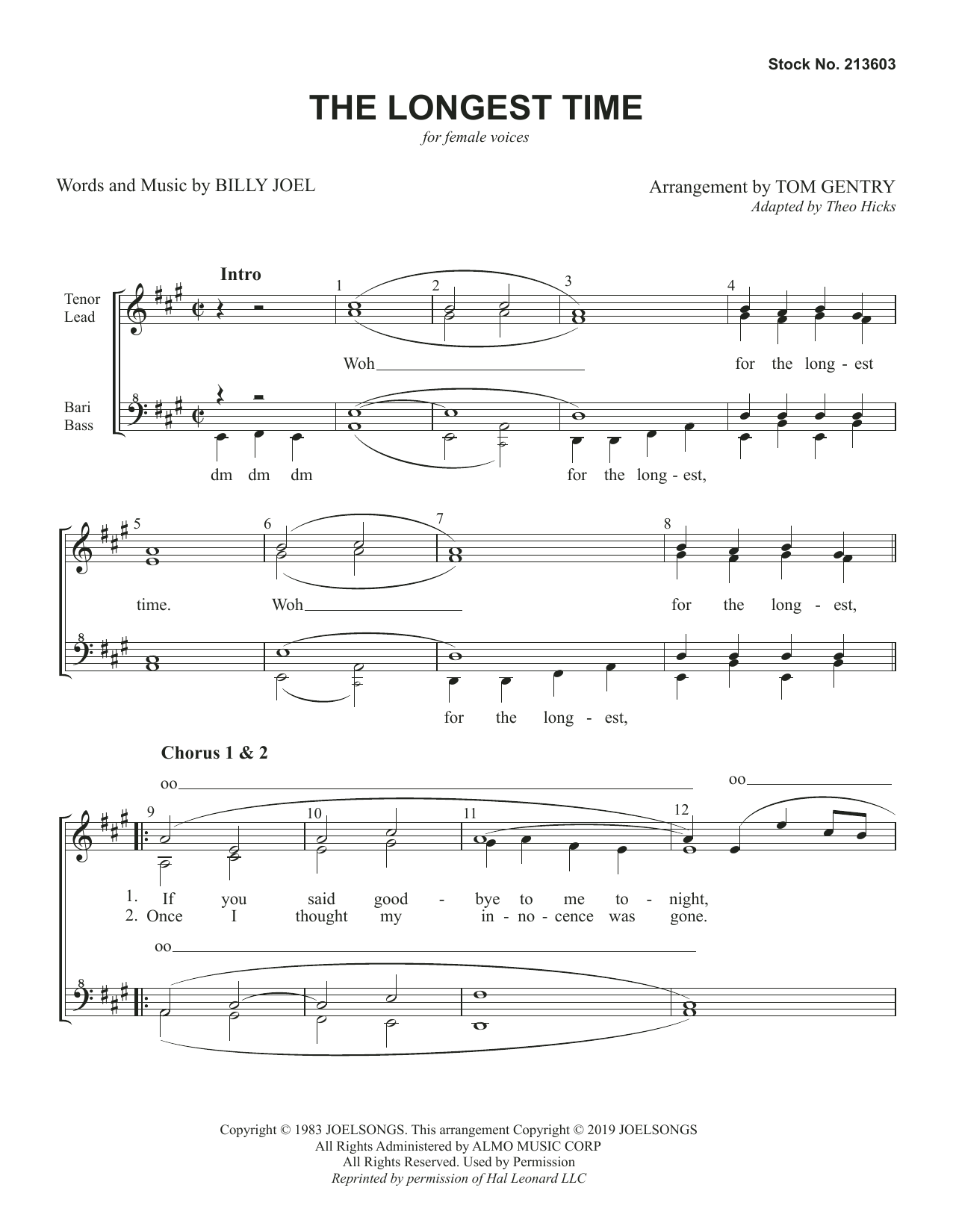 The Longest Time (arr. Tom Gentry) Partition Digitale