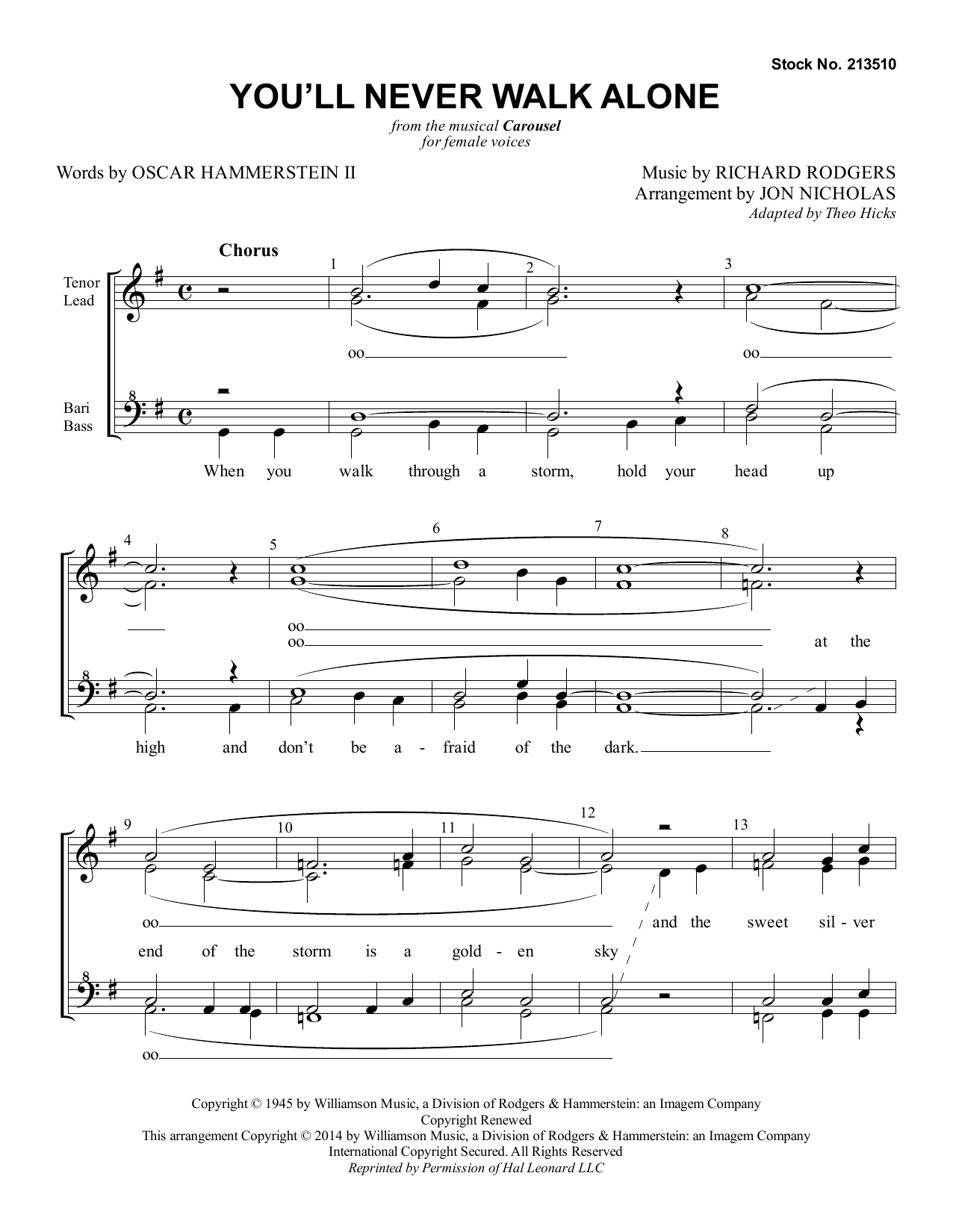 You'll Never Walk Alone (from Carousel) (arr. Jon Nicholas) (SSAA Choir)