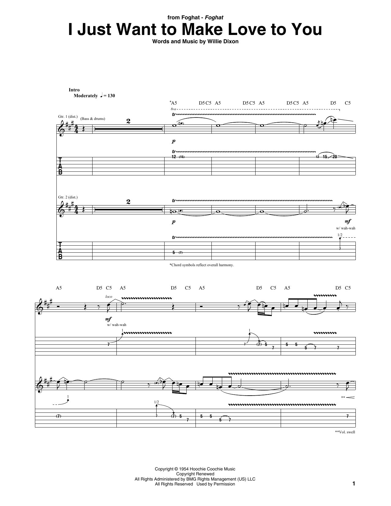 I Just Want To Make Love To You (Guitar Tab)