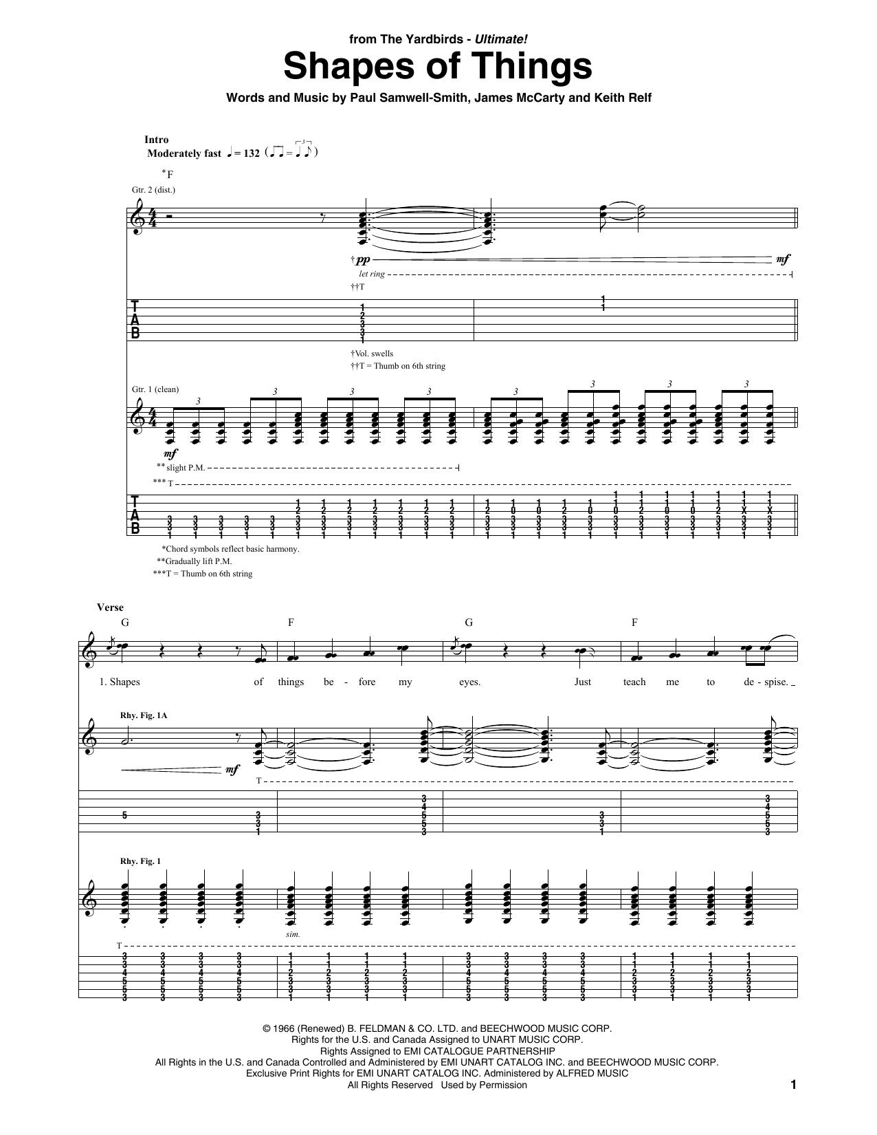 Shapes Of Things (Guitar Tab)