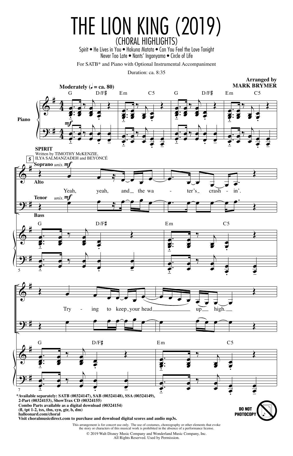 The Lion King (2019) (Choral Highlights) (SATB Choir)