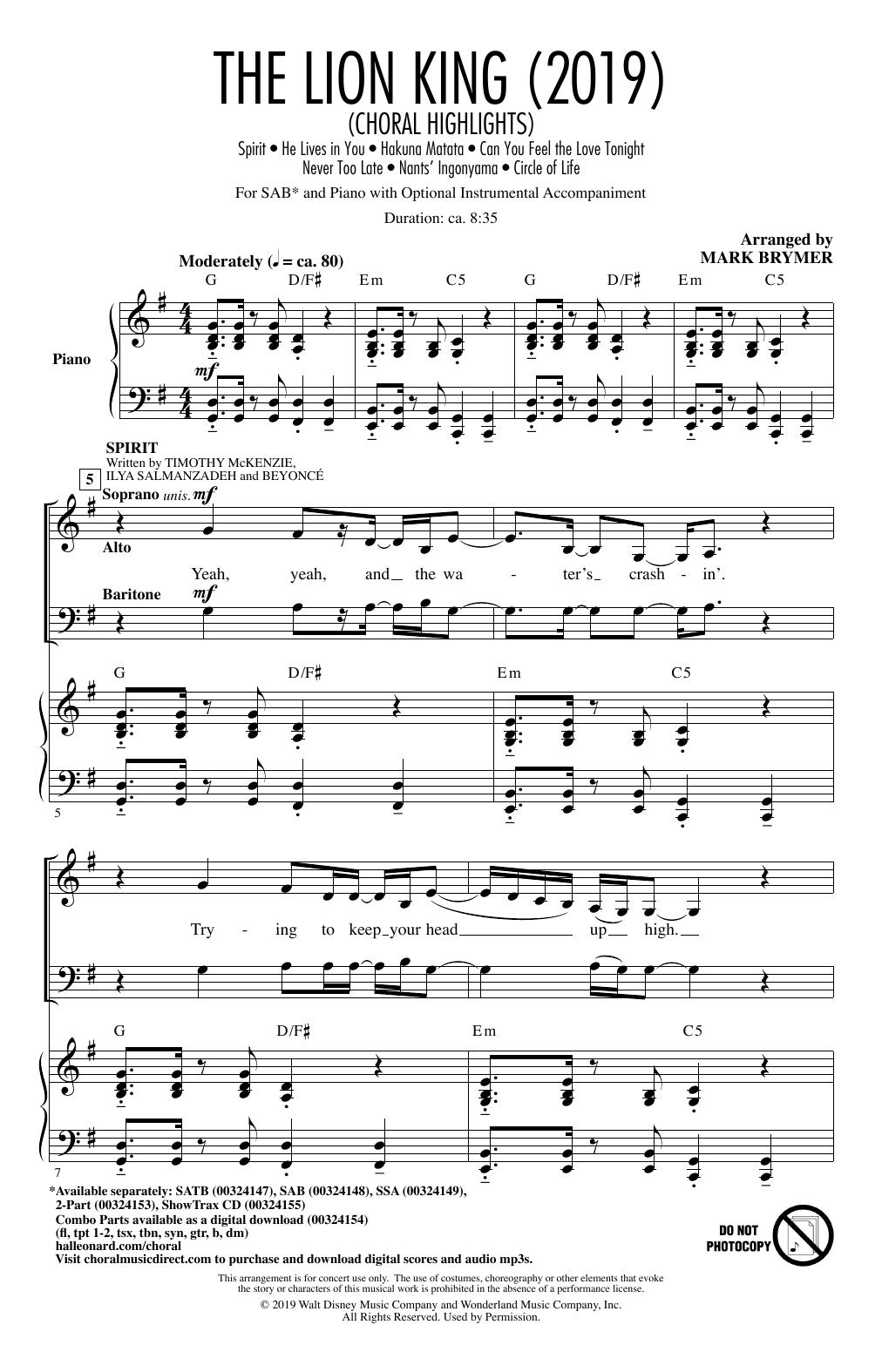 The Lion King (2019) (Choral Highlights) (SAB Choir)