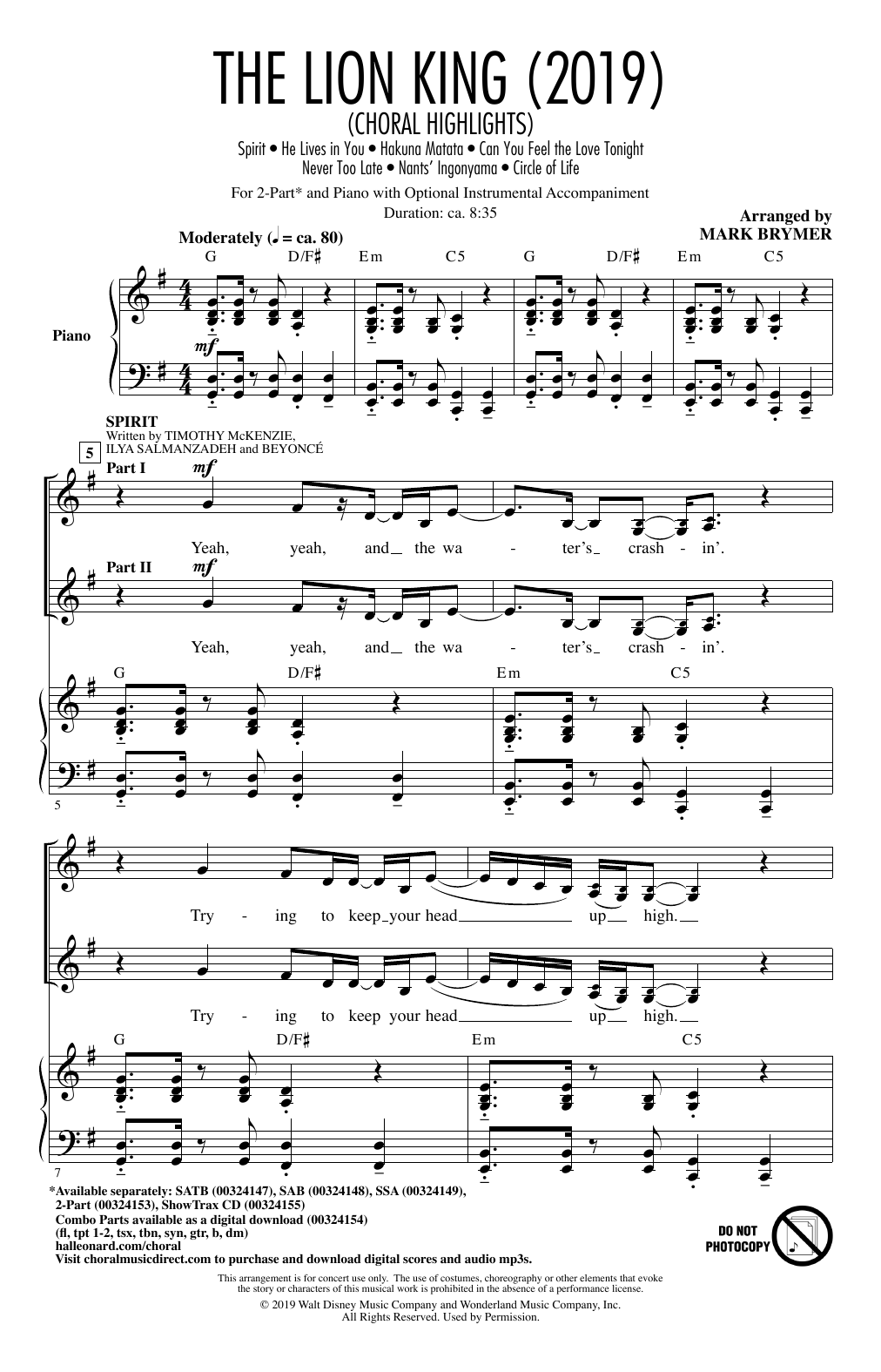 The Lion King (2019) (Choral Highlights) (2-Part Choir)