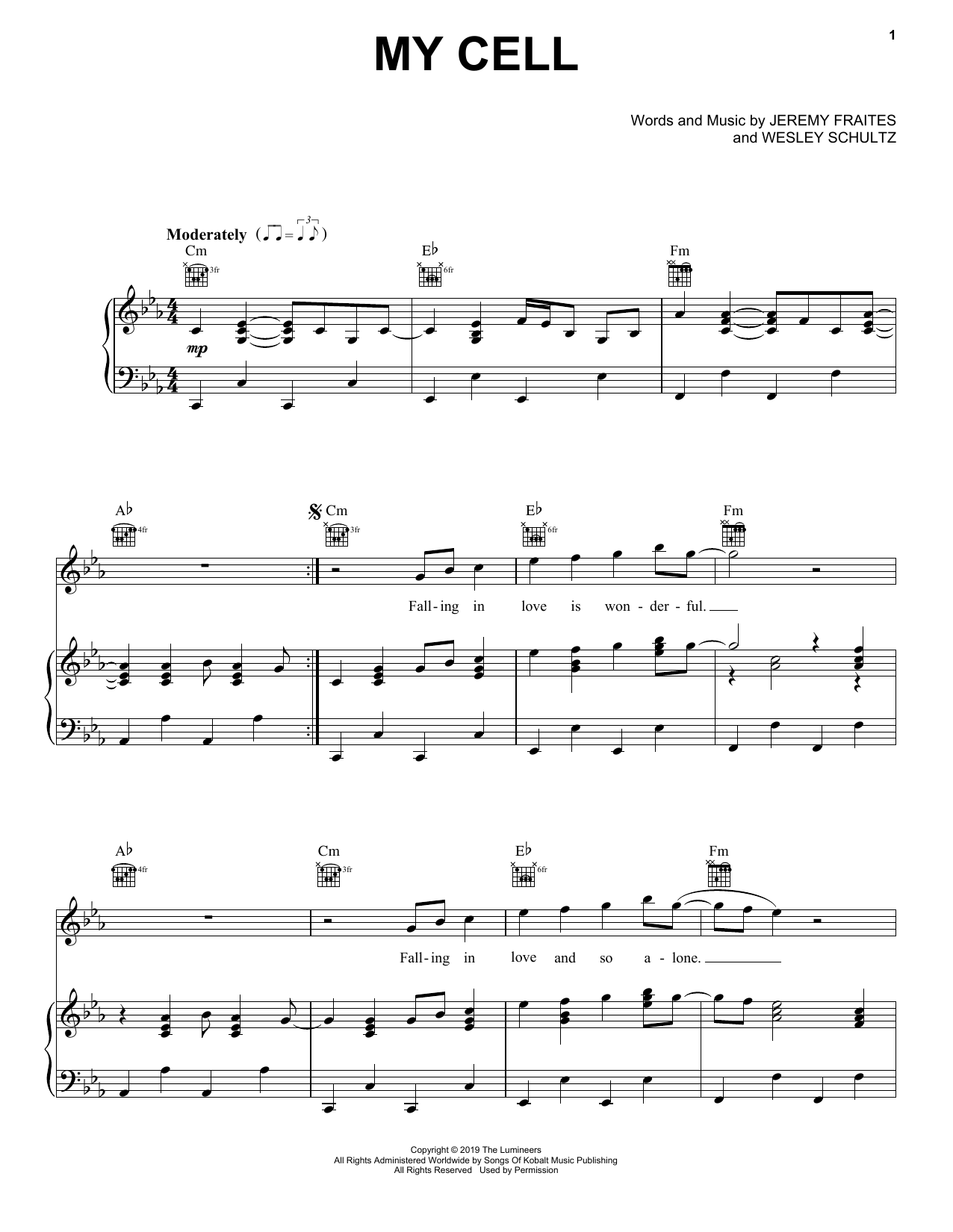 My Cell (Piano, Vocal & Guitar (Right-Hand Melody))