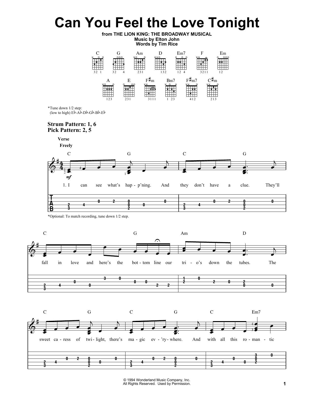 Can You Feel The Love Tonight (from The Lion King) (Easy Guitar Tab)