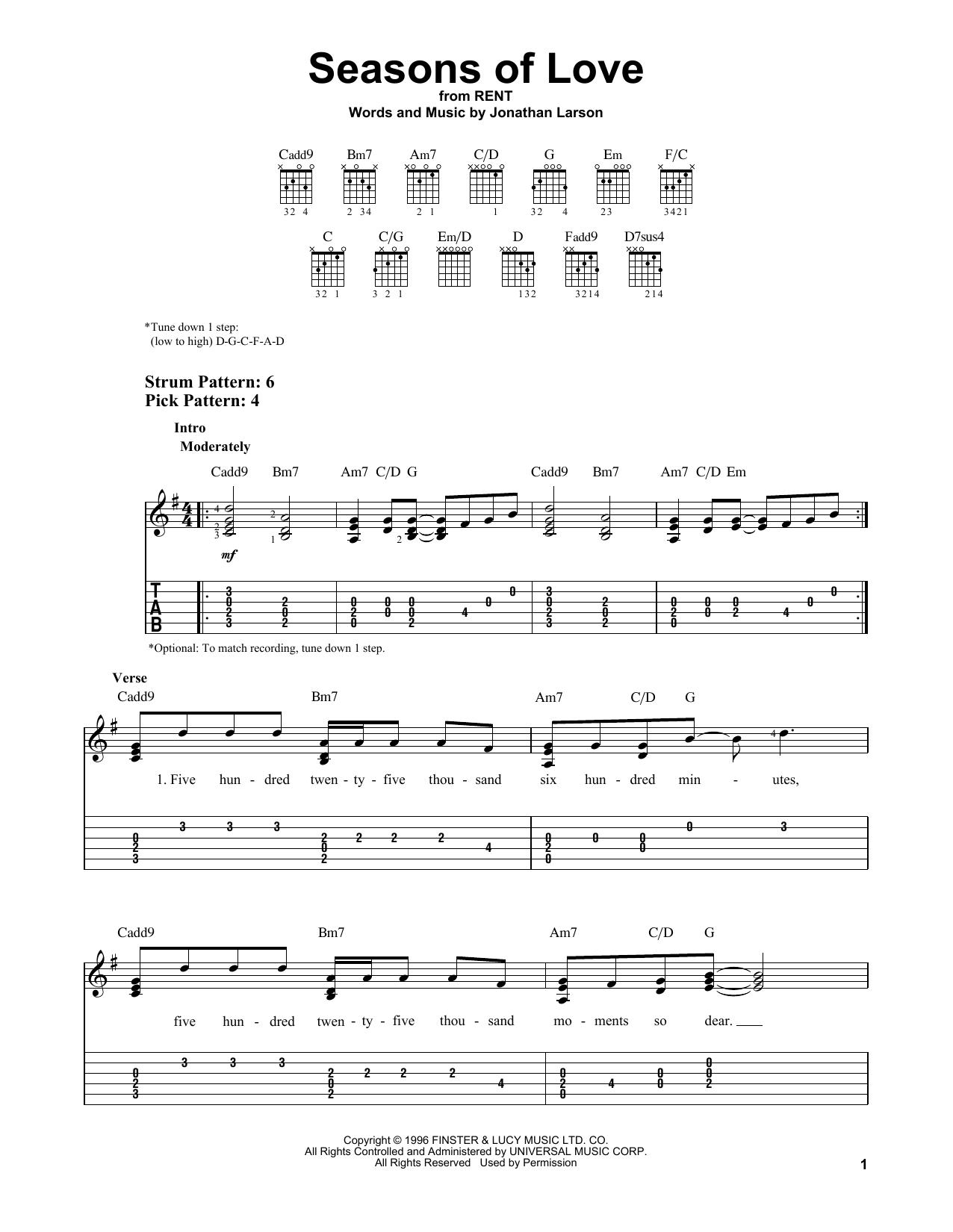 Seasons Of Love (from Rent) (Easy Guitar Tab)