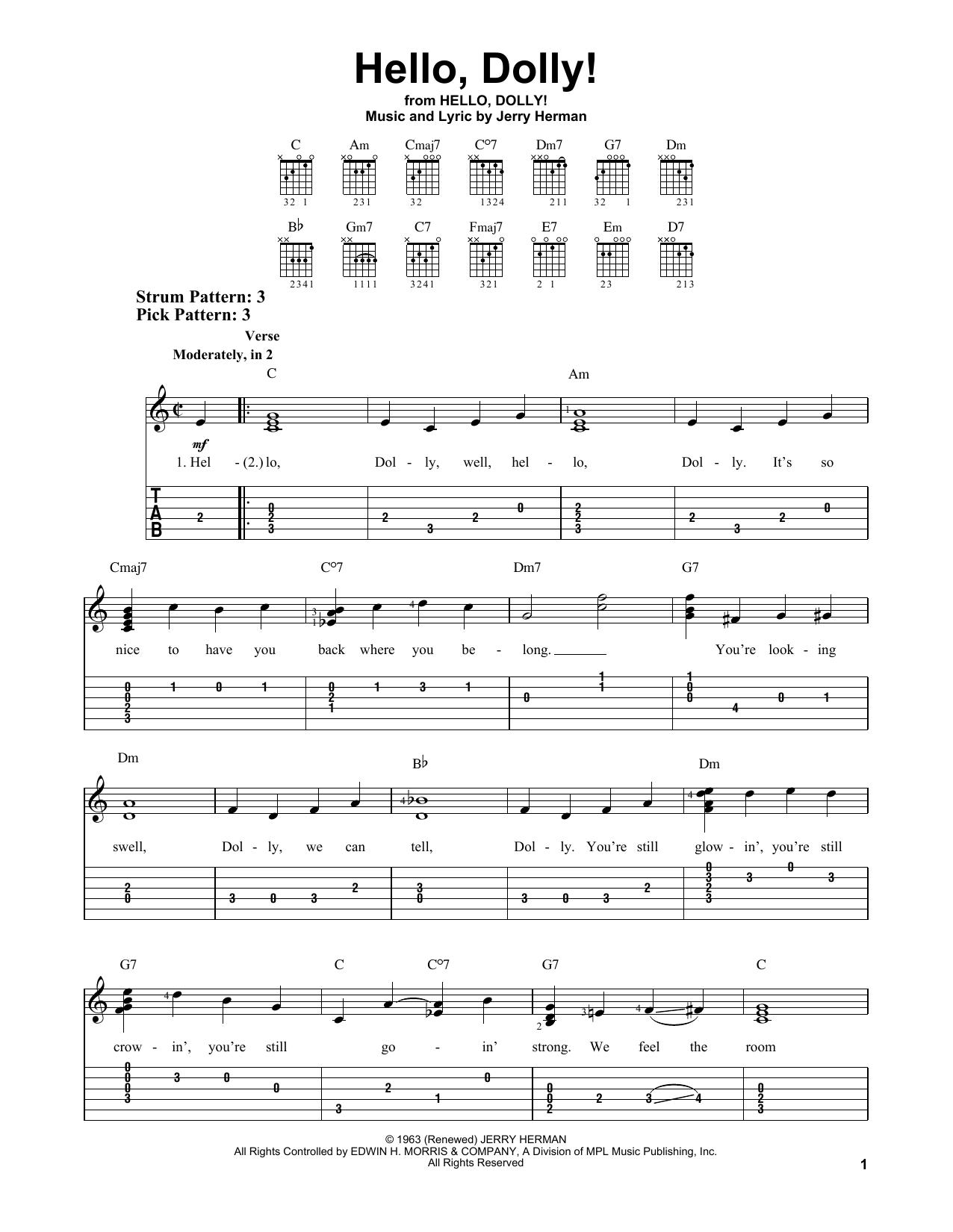 Hello, Dolly! (Easy Guitar Tab)