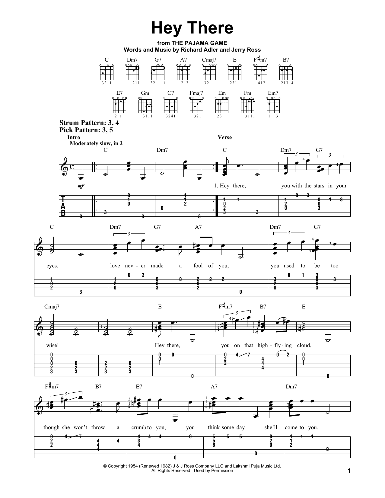 Hey There (from The Pajama Game) (Easy Guitar Tab)