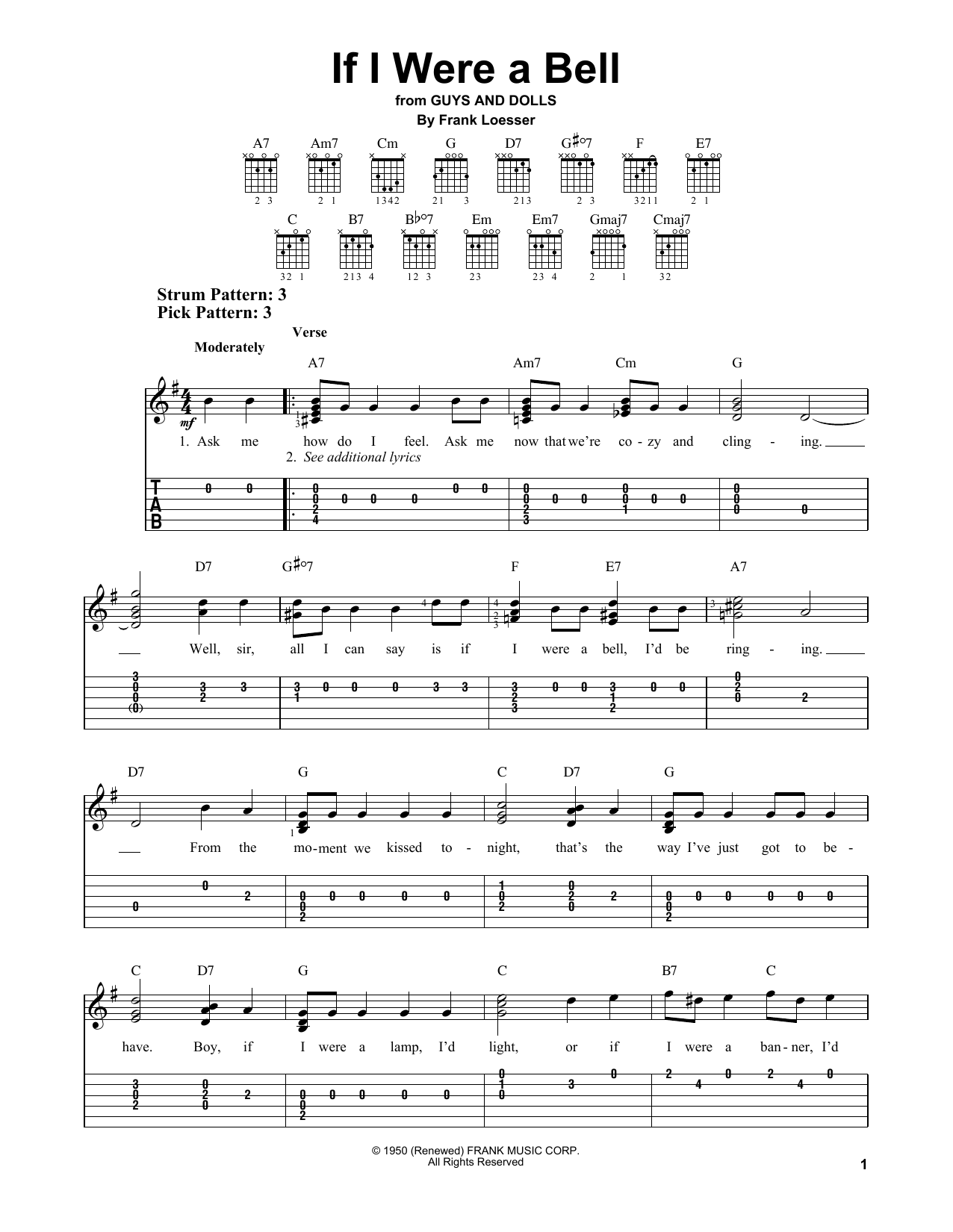 If I Were A Bell (from Guys And Dolls) (Easy Guitar Tab)