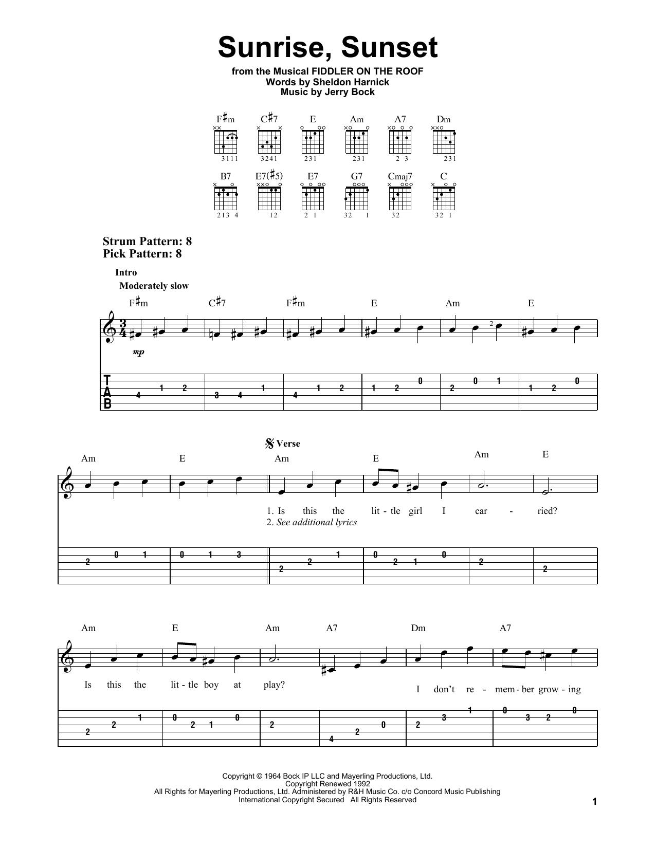 Sunrise, Sunset (from Fiddler On The Roof) (Easy Guitar Tab)
