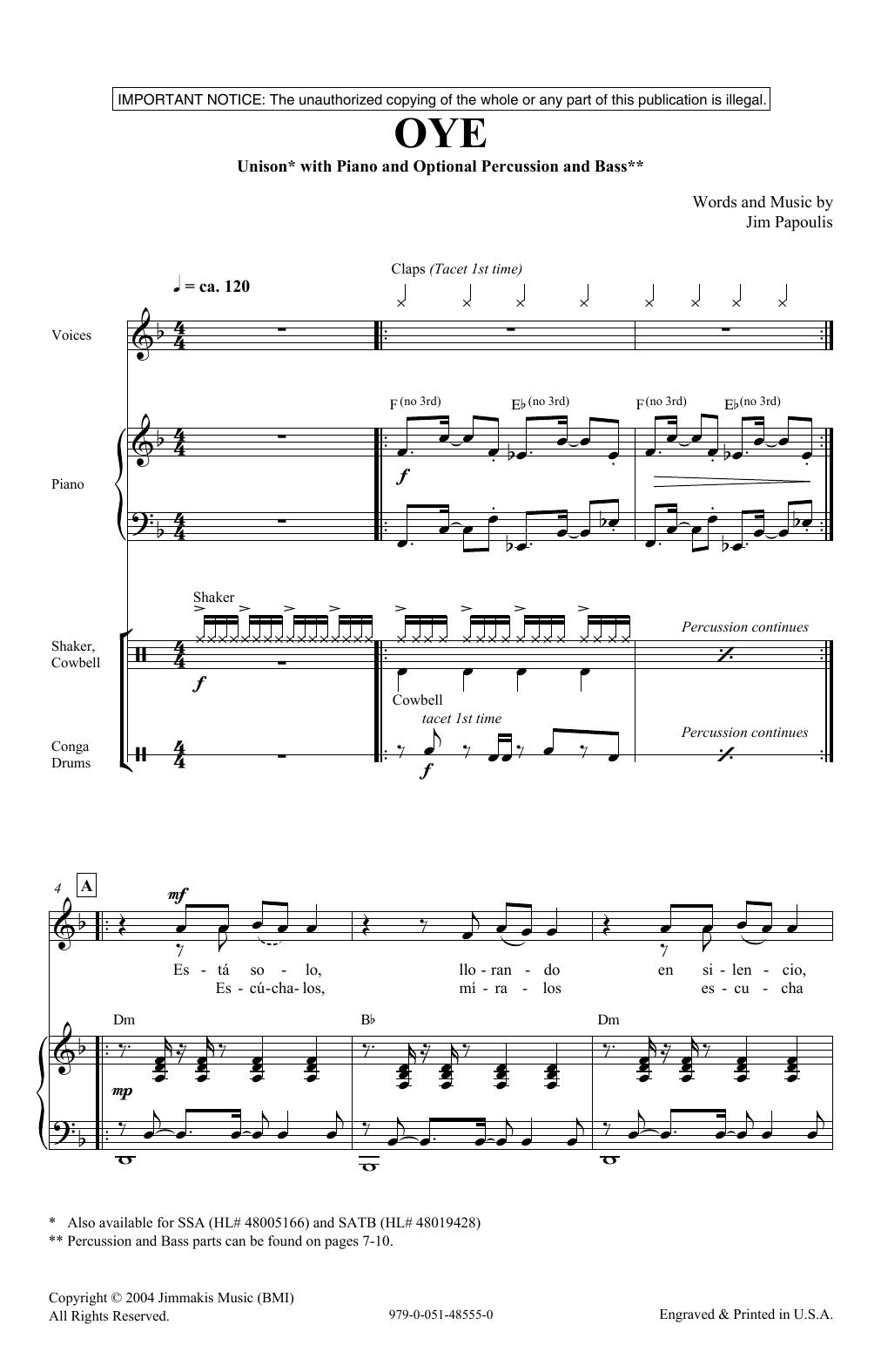 Oye Sheet Music