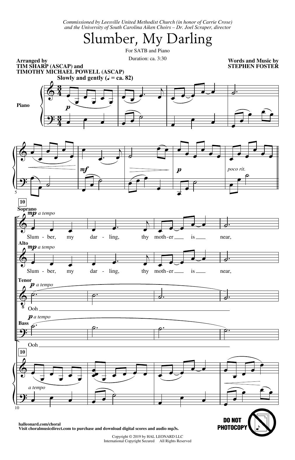 Slumber My Darling (arr. Tim Sharp and Timothy Michael Powell) (SATB Choir)