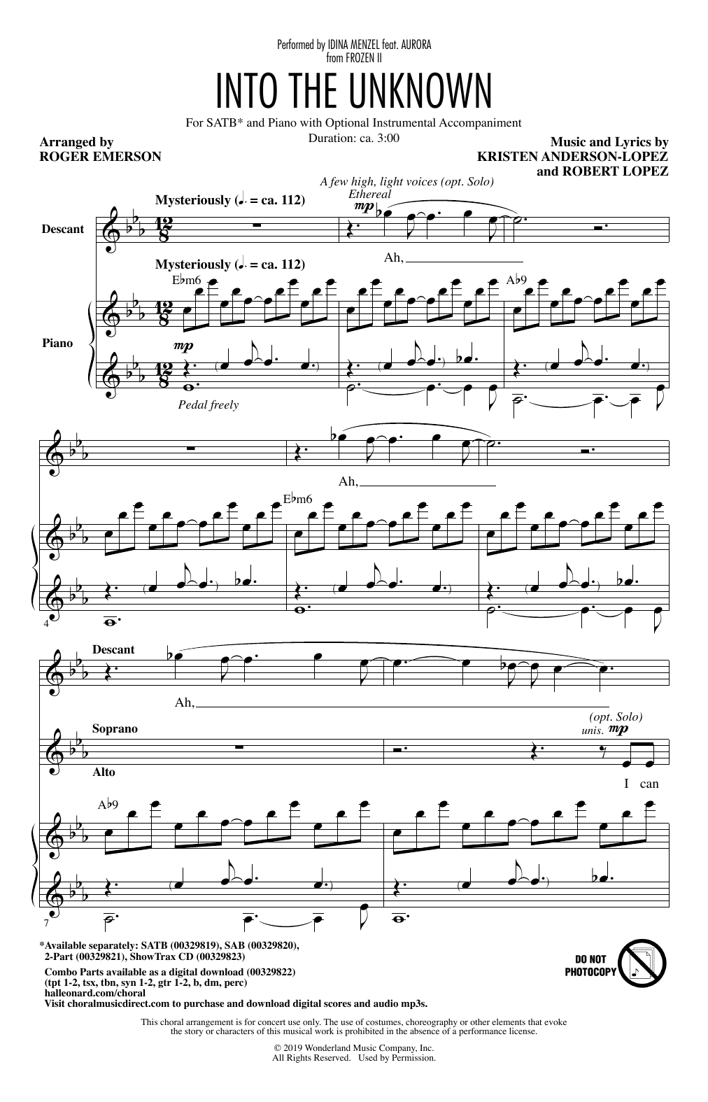 Into The Unknown (from Disney's Frozen 2) (arr. Roger Emerson) Sheet Music