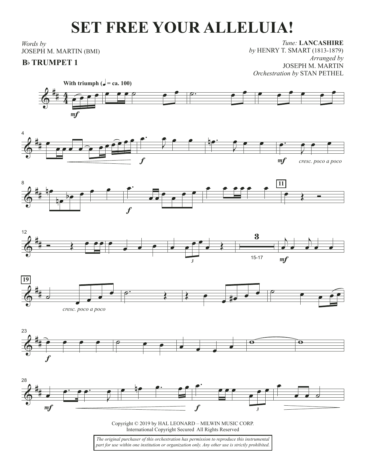 Set Free Your Alleluia! - Bb Trumpet 1 (Choir Instrumental Pak)