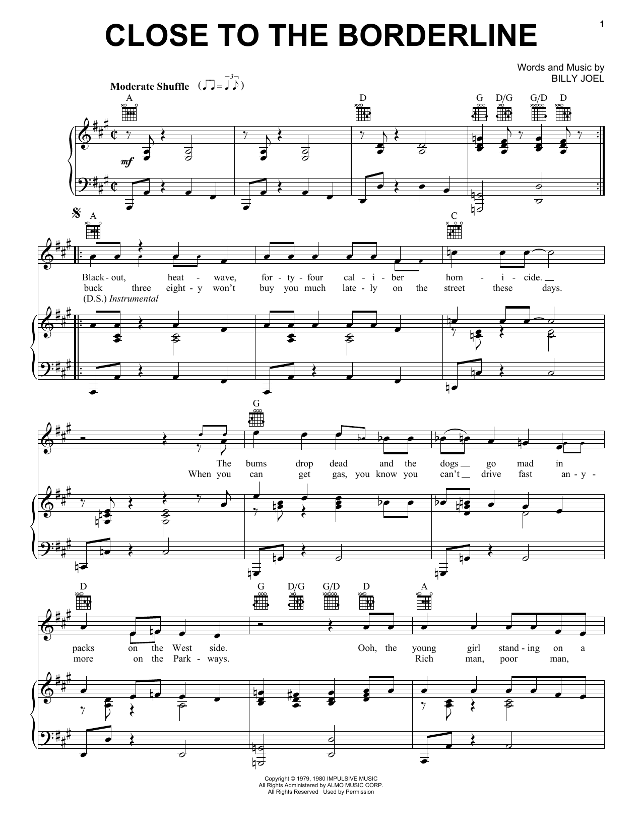 Close To The Borderline (Piano, Vocal & Guitar (Right-Hand Melody))