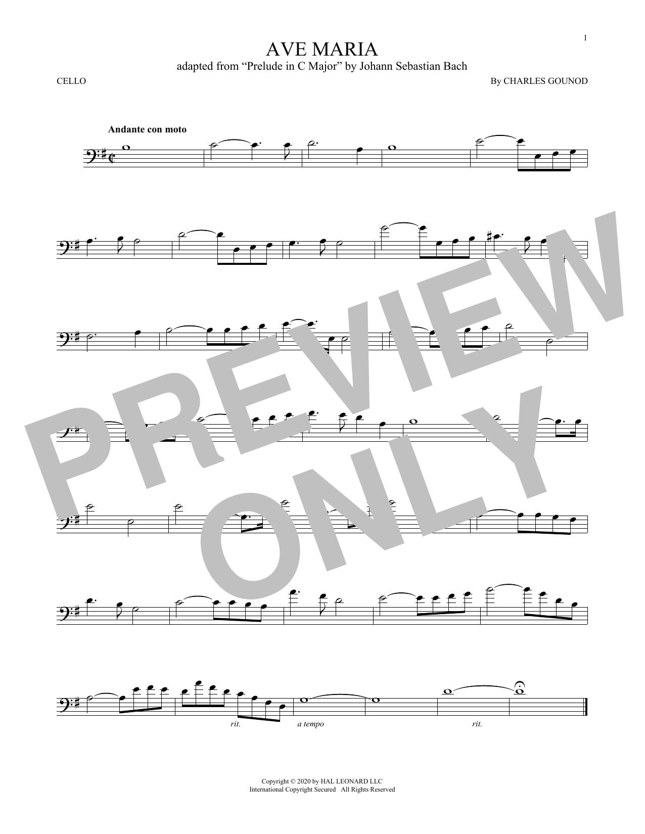 Ave Maria (Cello Solo)