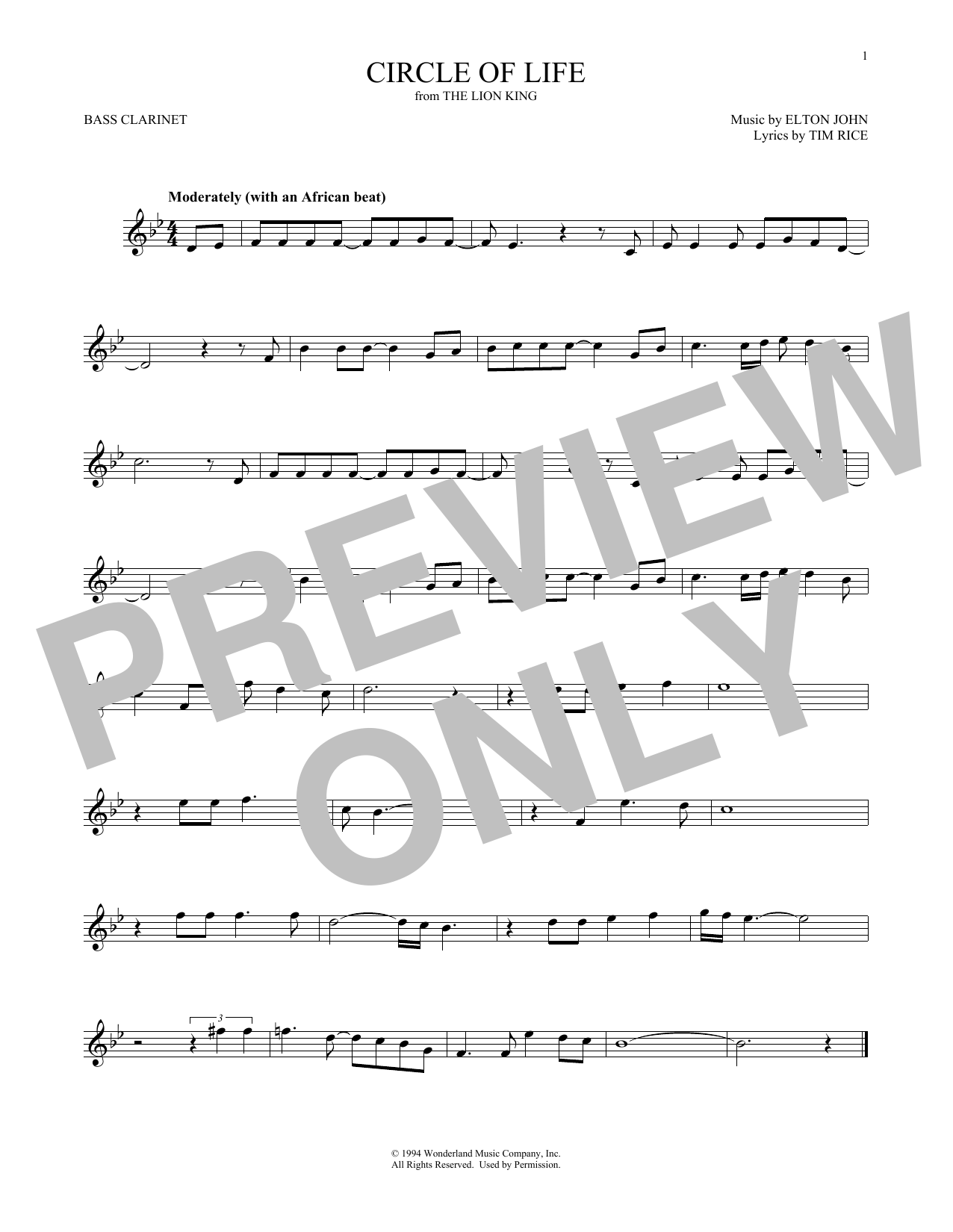 Circle Of Life (from The Lion King) (Bass Clarinet Solo)