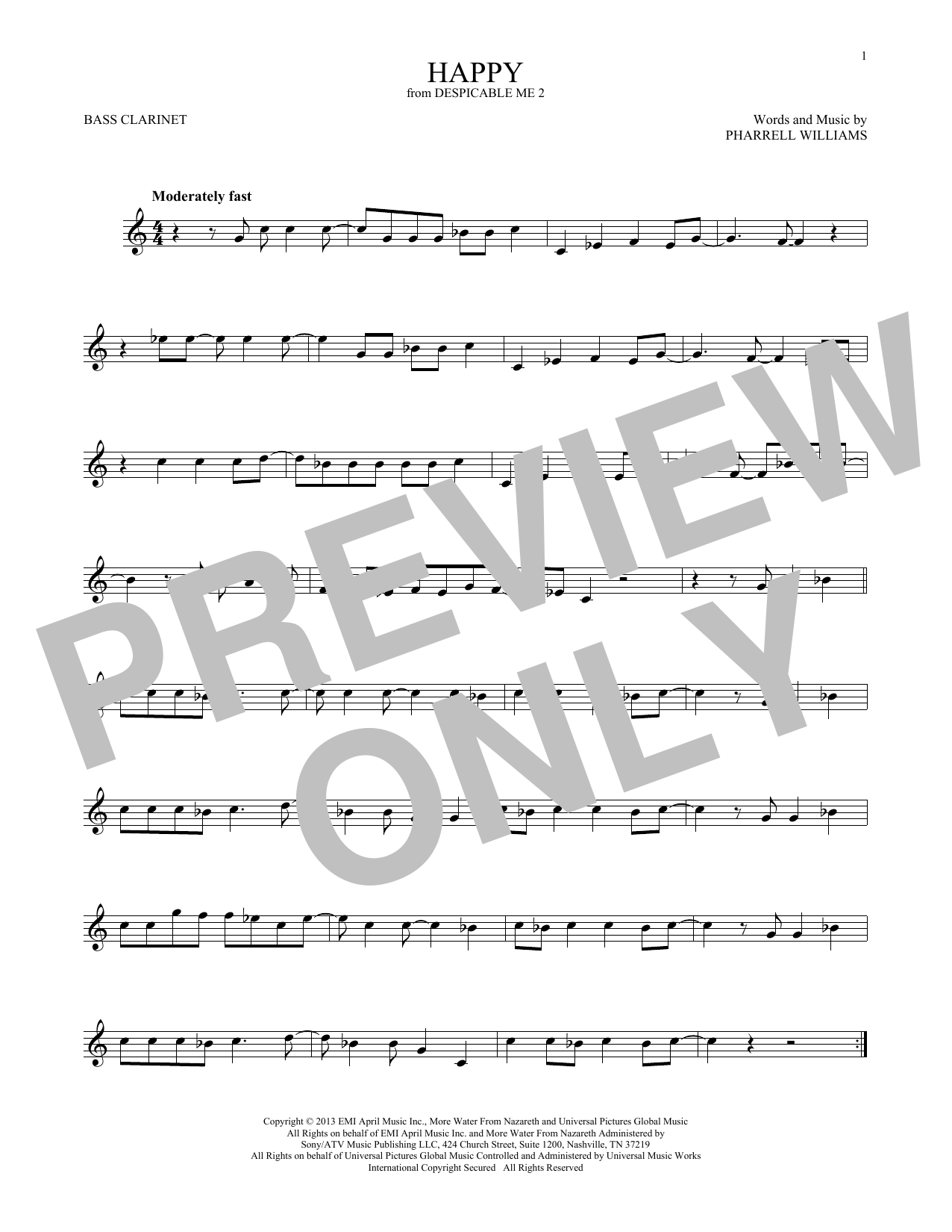 Happy (from Despicable Me 2) (Bass Clarinet Solo)