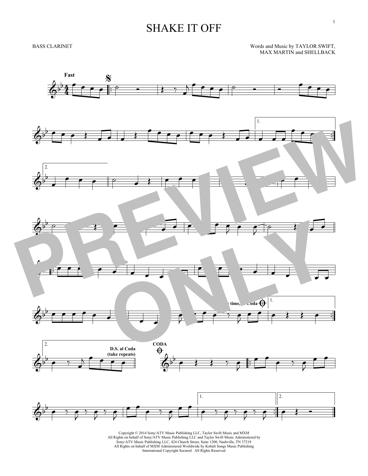 Shake It Off (Bass Clarinet Solo)