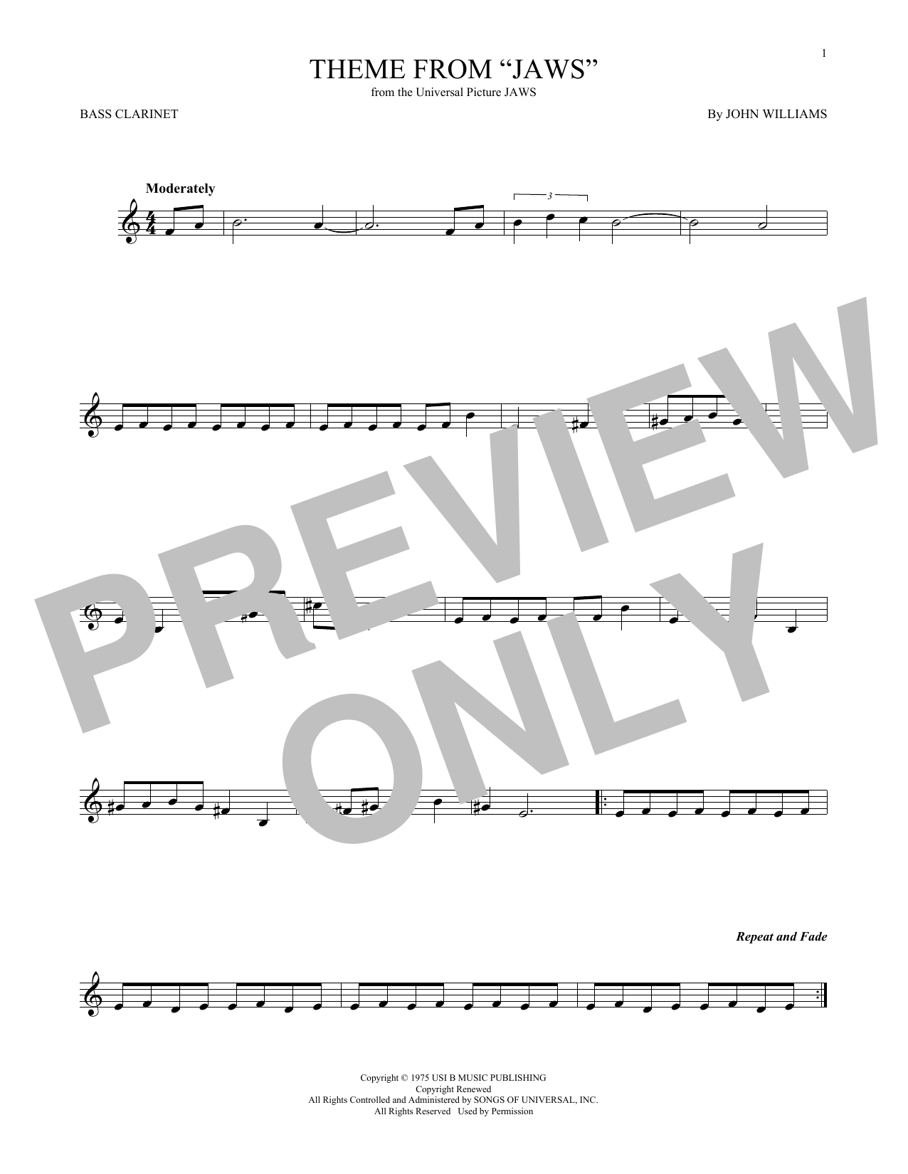 Theme from Jaws (Bass Clarinet Solo)